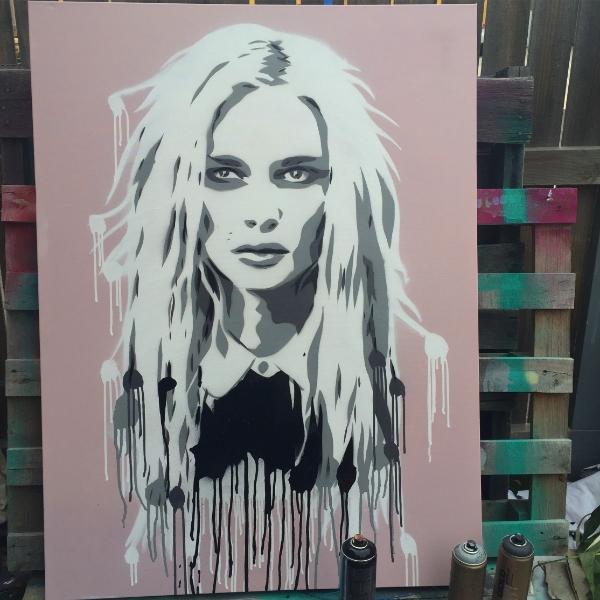 ANDREJA  aerosol + stencil on canvas.