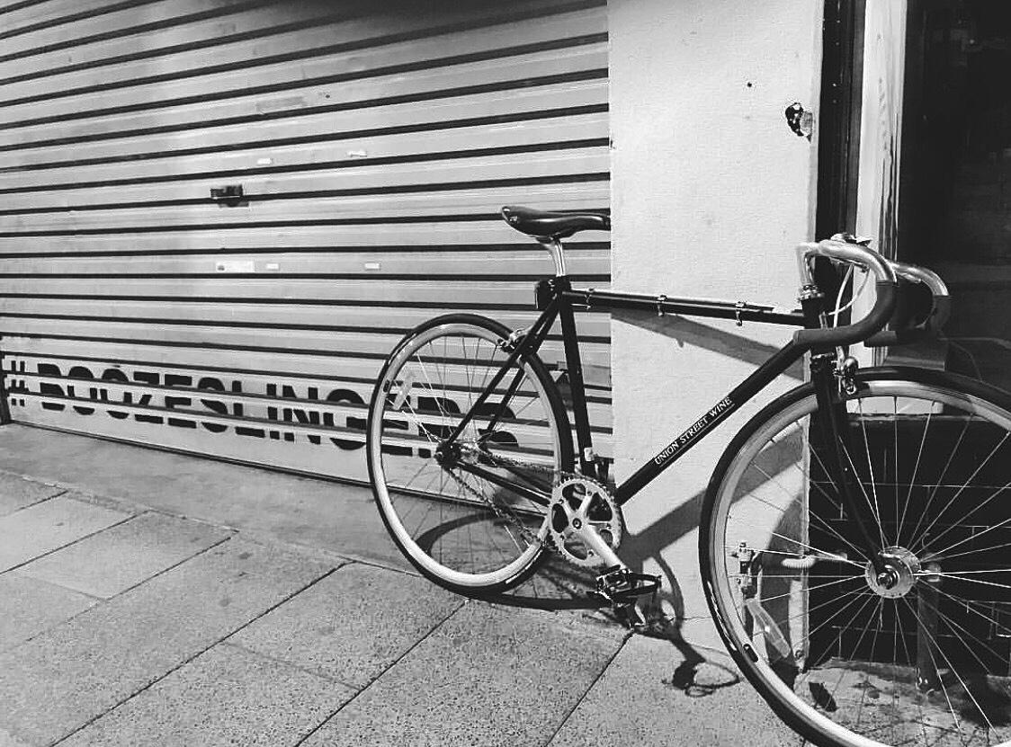 VENUE, aerosol on roller door, Union Street Wine, Geelong
