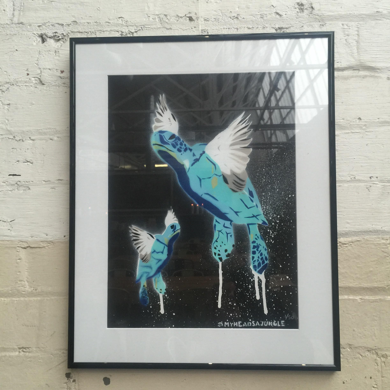 TURTLE DOVES aerosol + stencil on paper