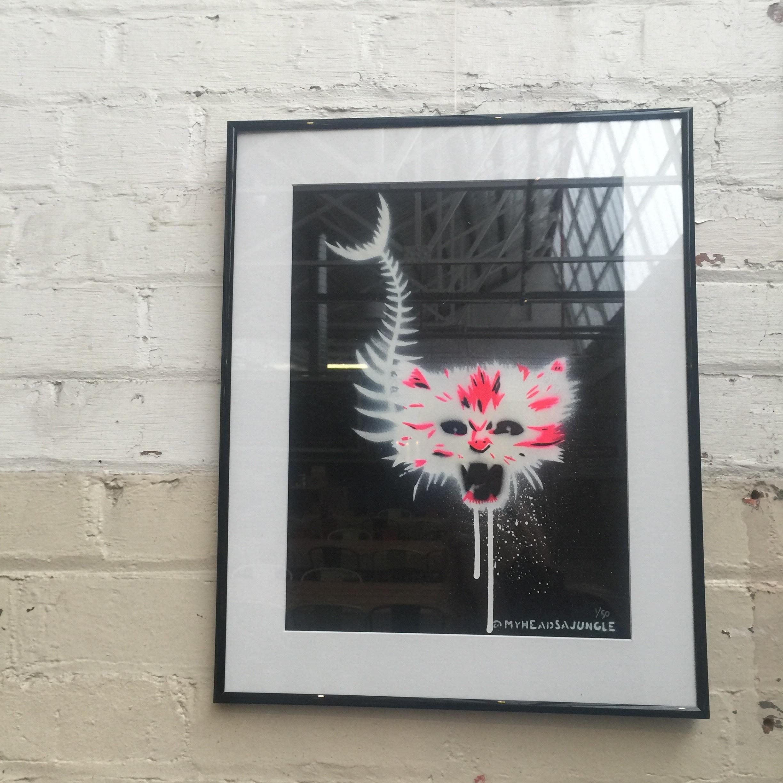 CATFISH aerosol + stencil on paper