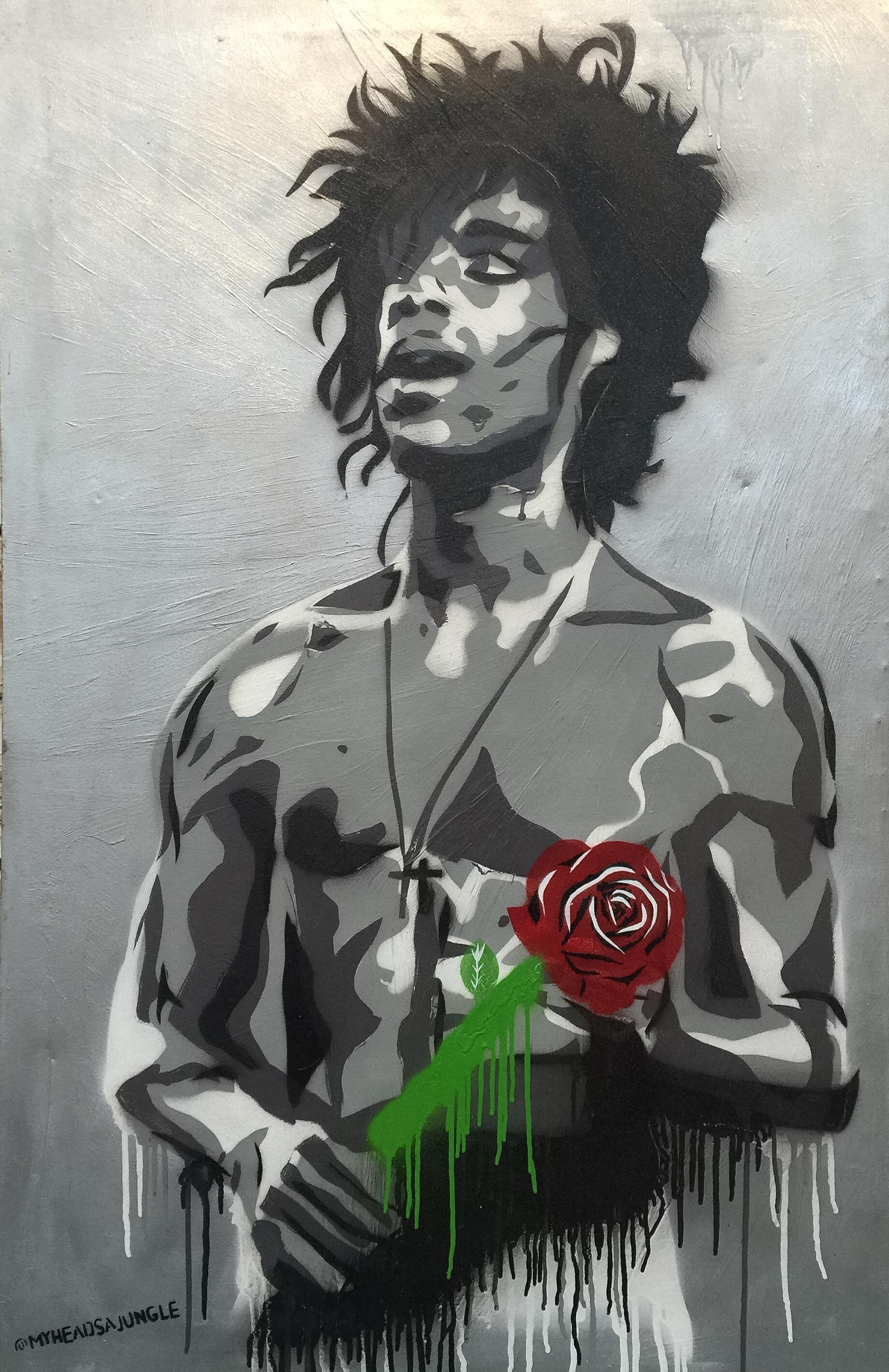 DR. EVERYTHINGLLBEALRIGHT aerosol + stencil on canvas