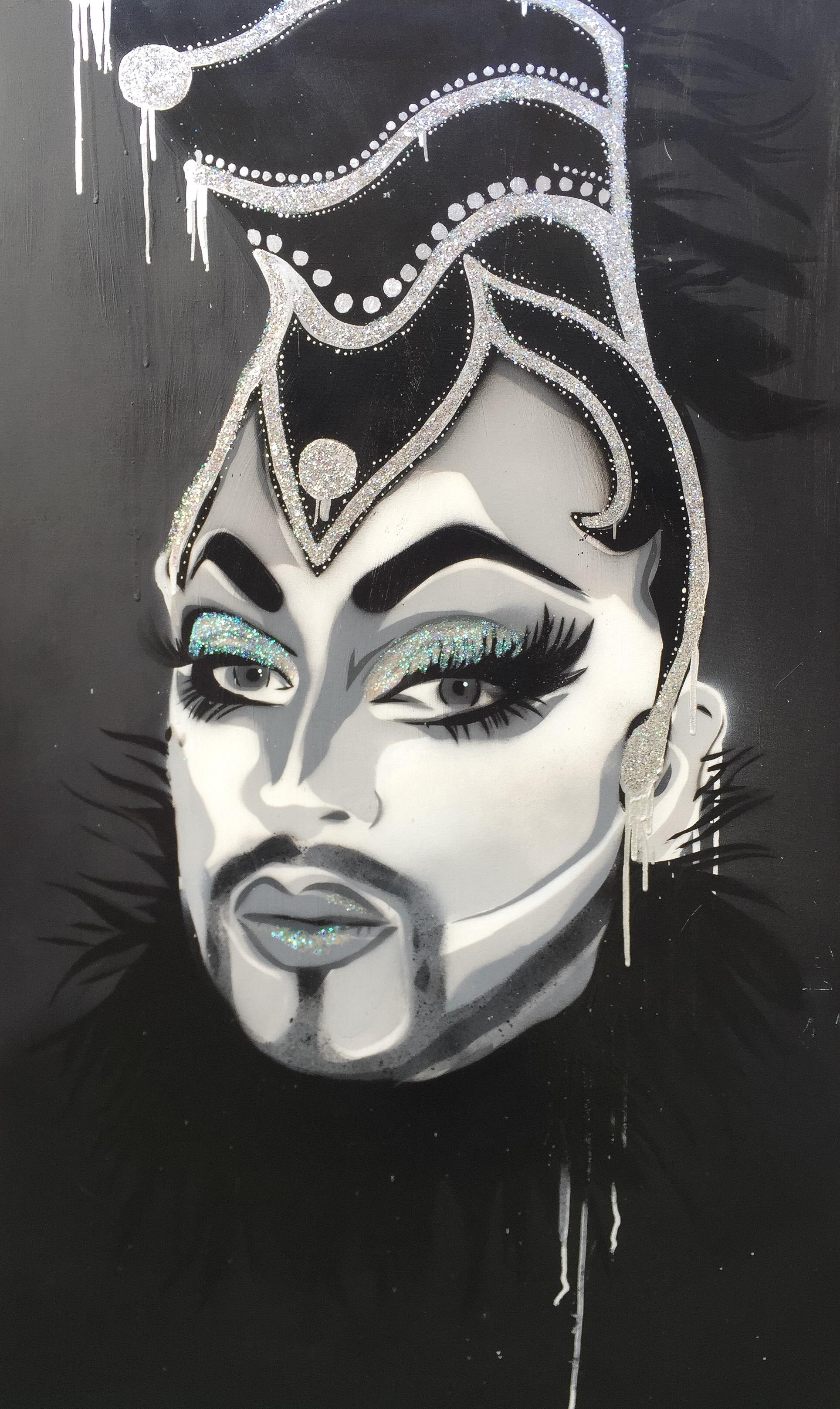 LADY P aerosol, enamel, glue + glitter on canvas