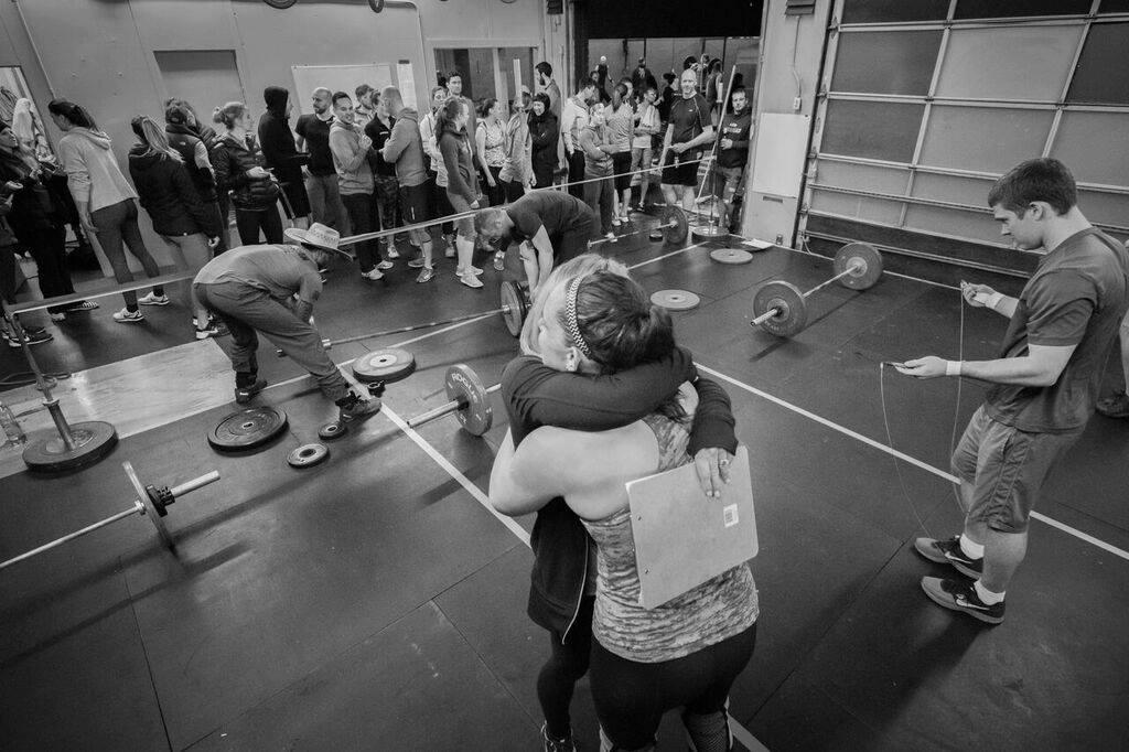 Me congratulating a Ballard CrossFit athlete after an Open workout in 2016!
