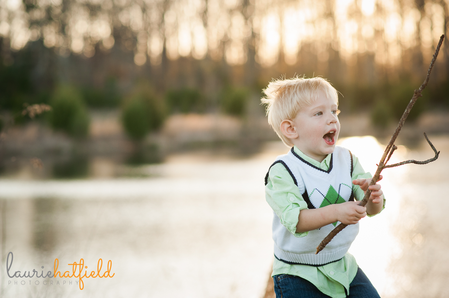 2-year-old boy playing with stick {huntsville al photographer}