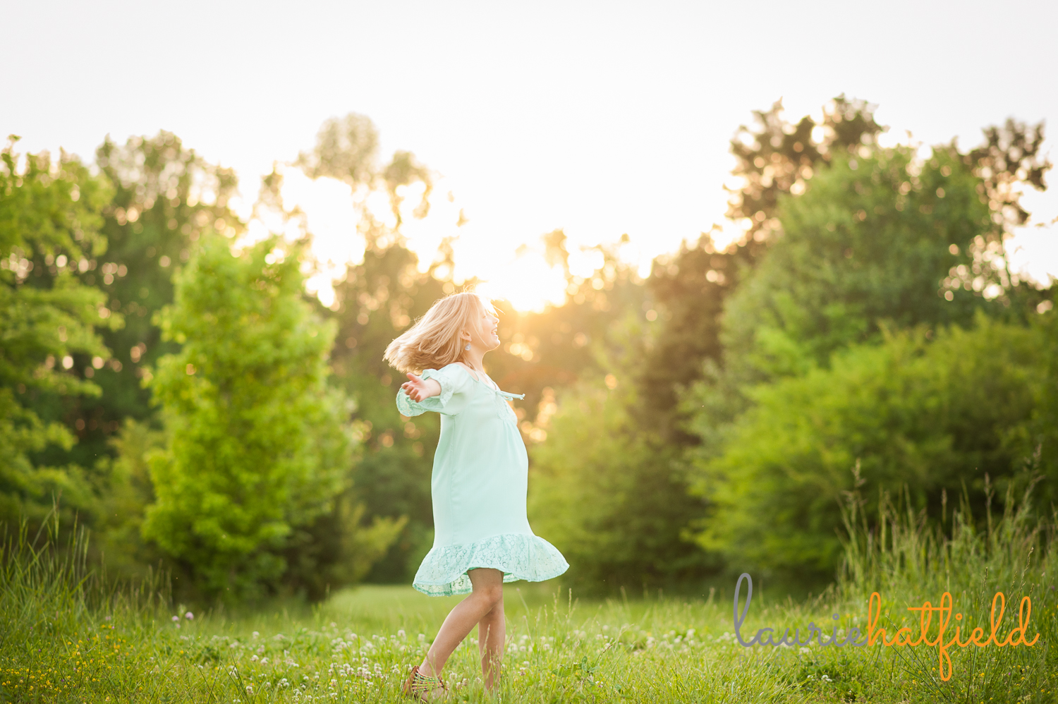 little girl dancing at sunset | Huntsville child photographer