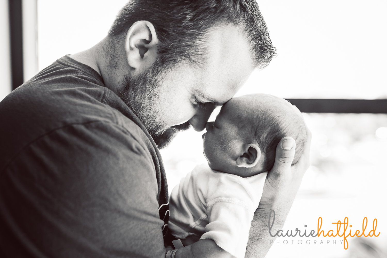 dad with newborn son   Huntsville baby photographer