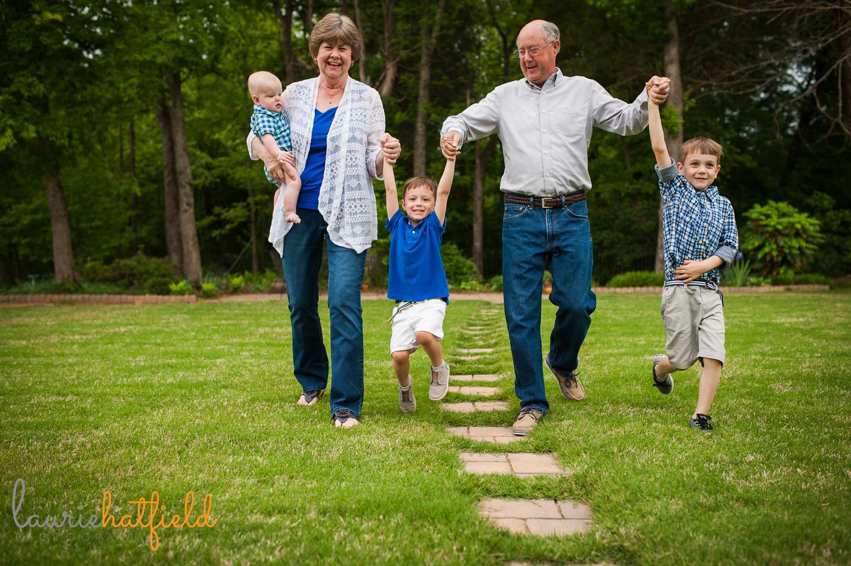 grandparents walking with three grandsons | Huntsville photographer