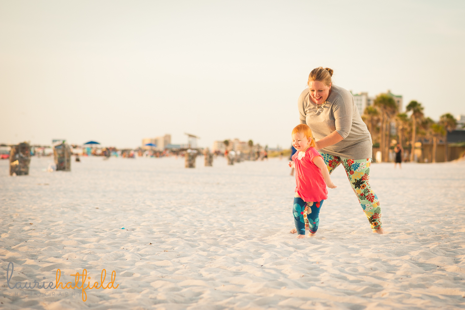 Mom chasing 2-year-old daughter on beach | Huntsville photographer