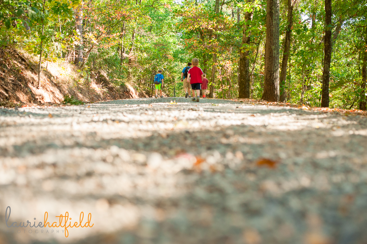 dad and 3 boys hiking on trail | Huntsville photographer