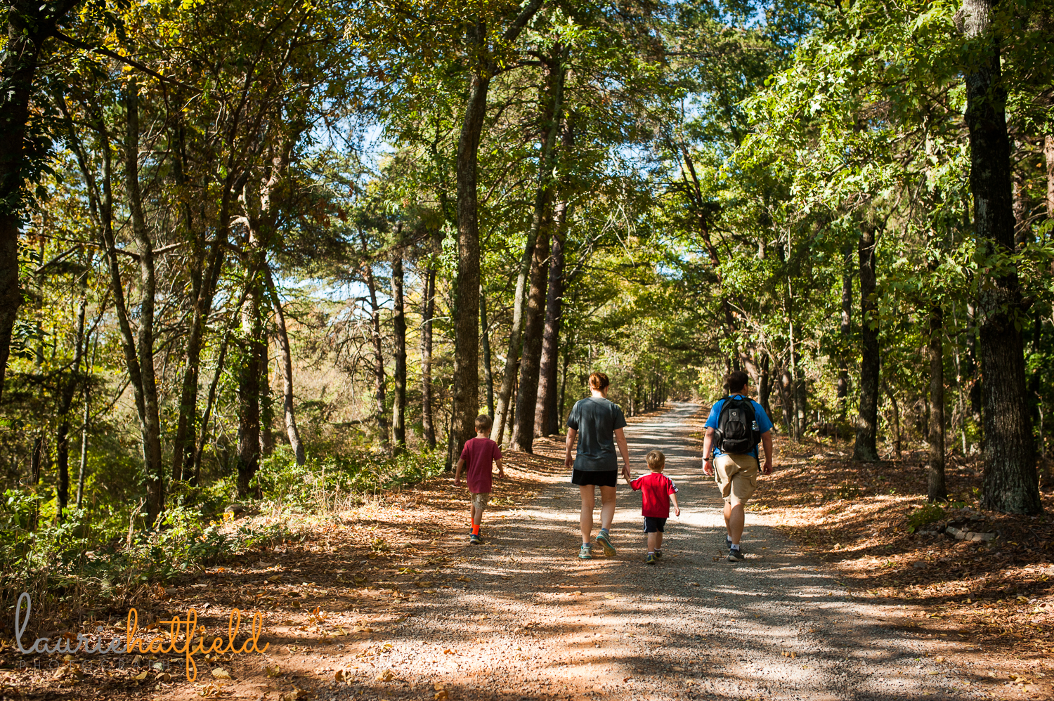 family hiking in the woods | Huntsville photographer