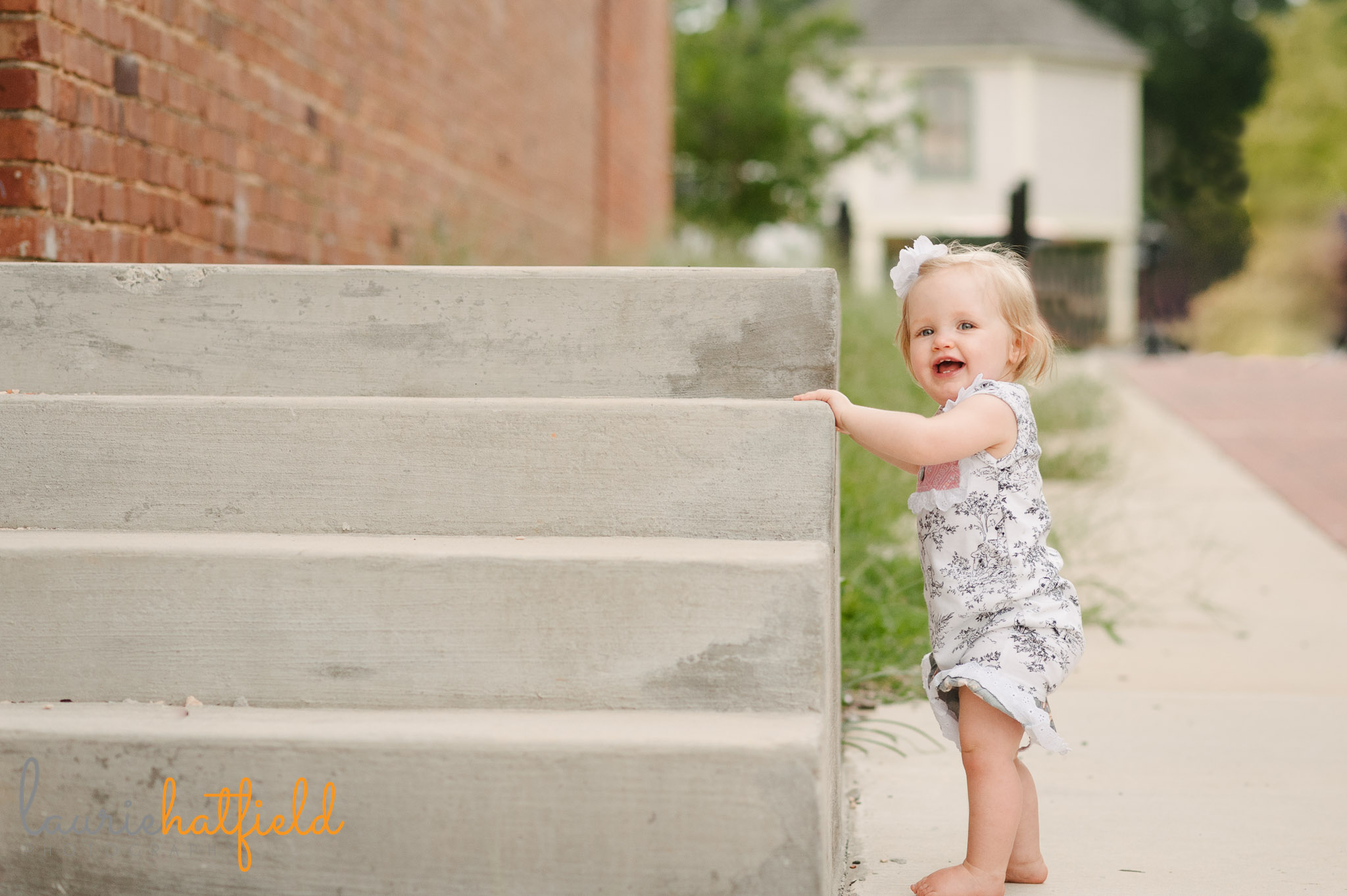 one year old baby girl standing   Mobile AL family photographer