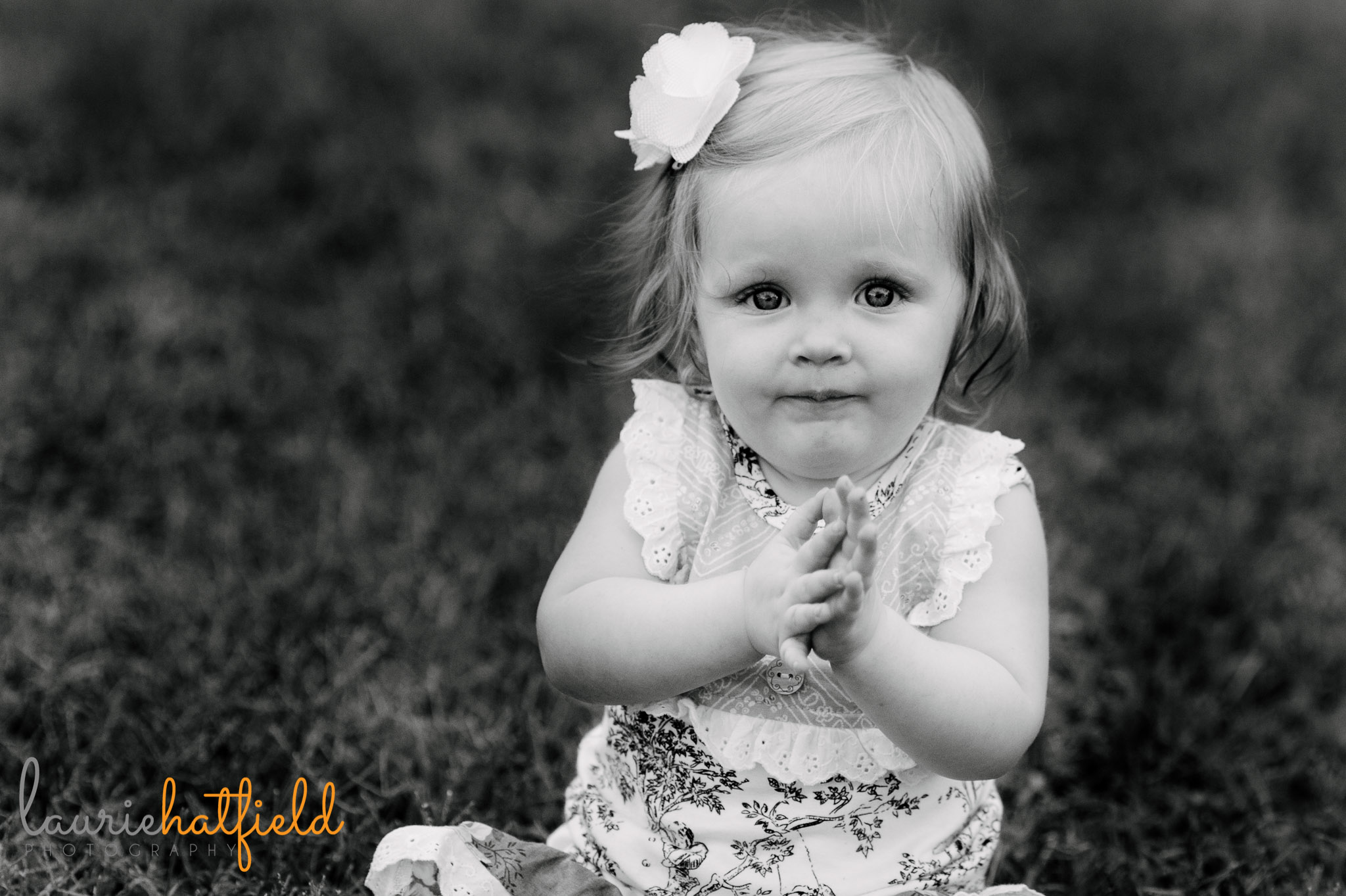 one year old baby girl clapping   Mobile AL family photographer