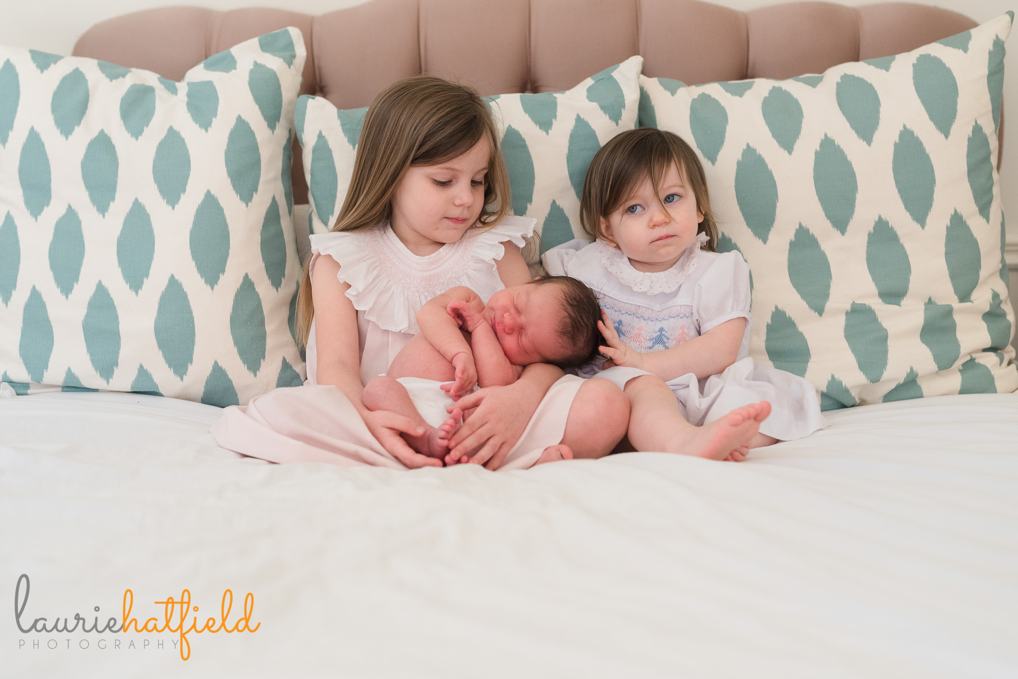 2 sisters with baby brother | Mobile newborn photographer