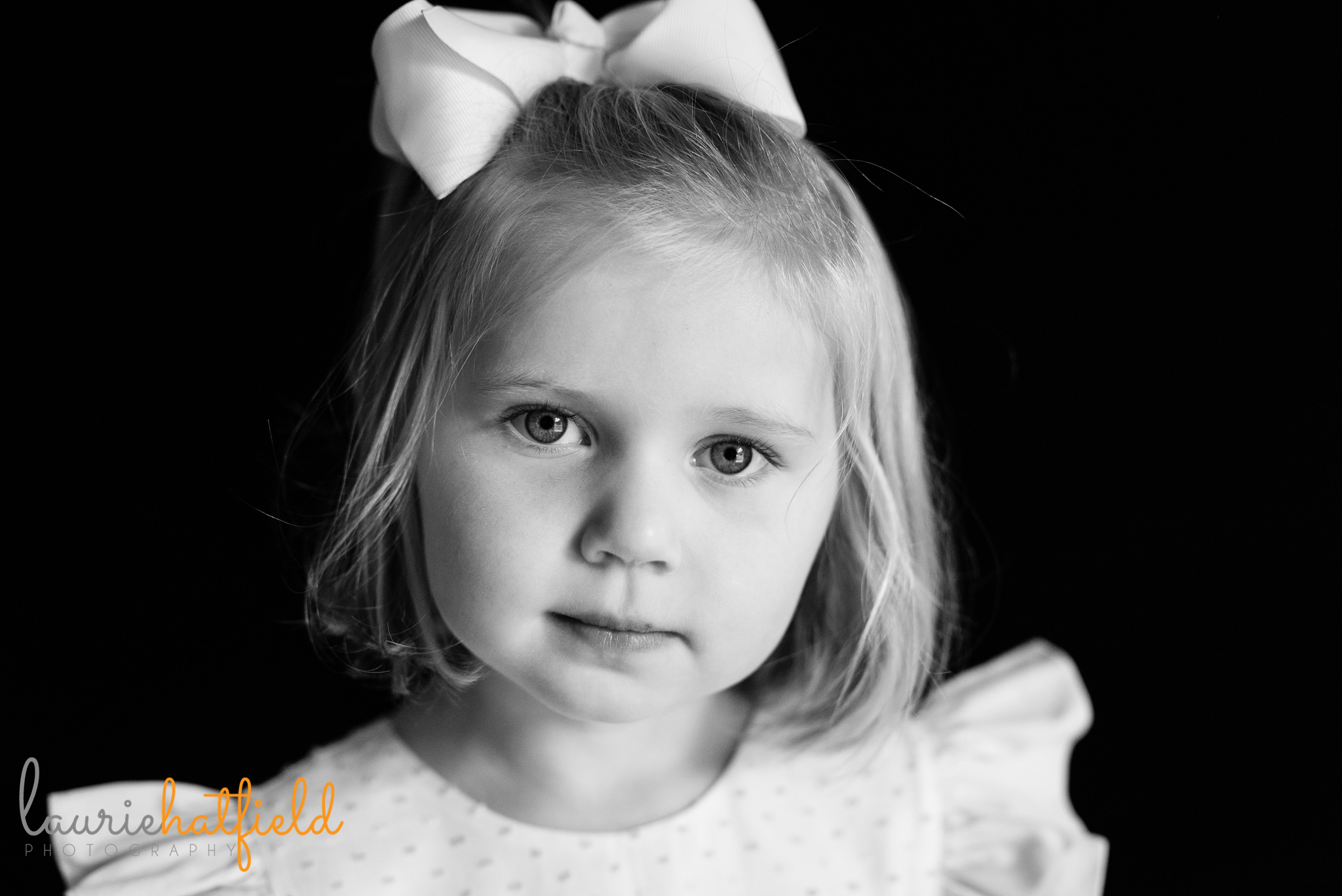 4-year-old girl black and white portrait   Mobile AL school photographer