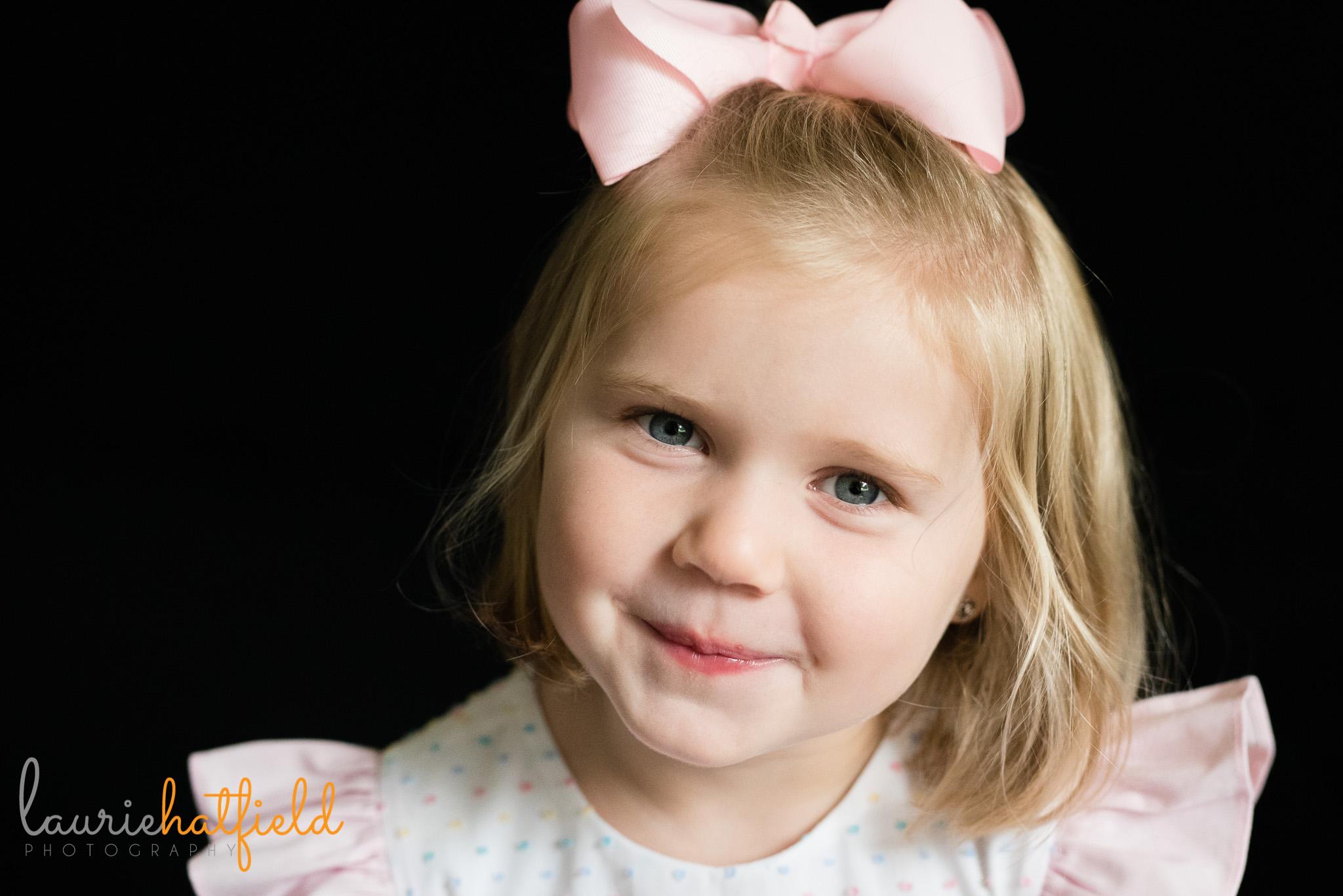 little girl in pink dress   Mobile AL school portrait photographer