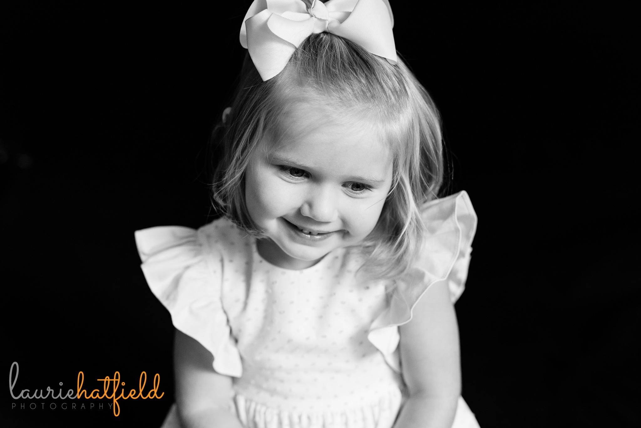 4-year-old blonde girl   Mobile AL preschool portrait photographer