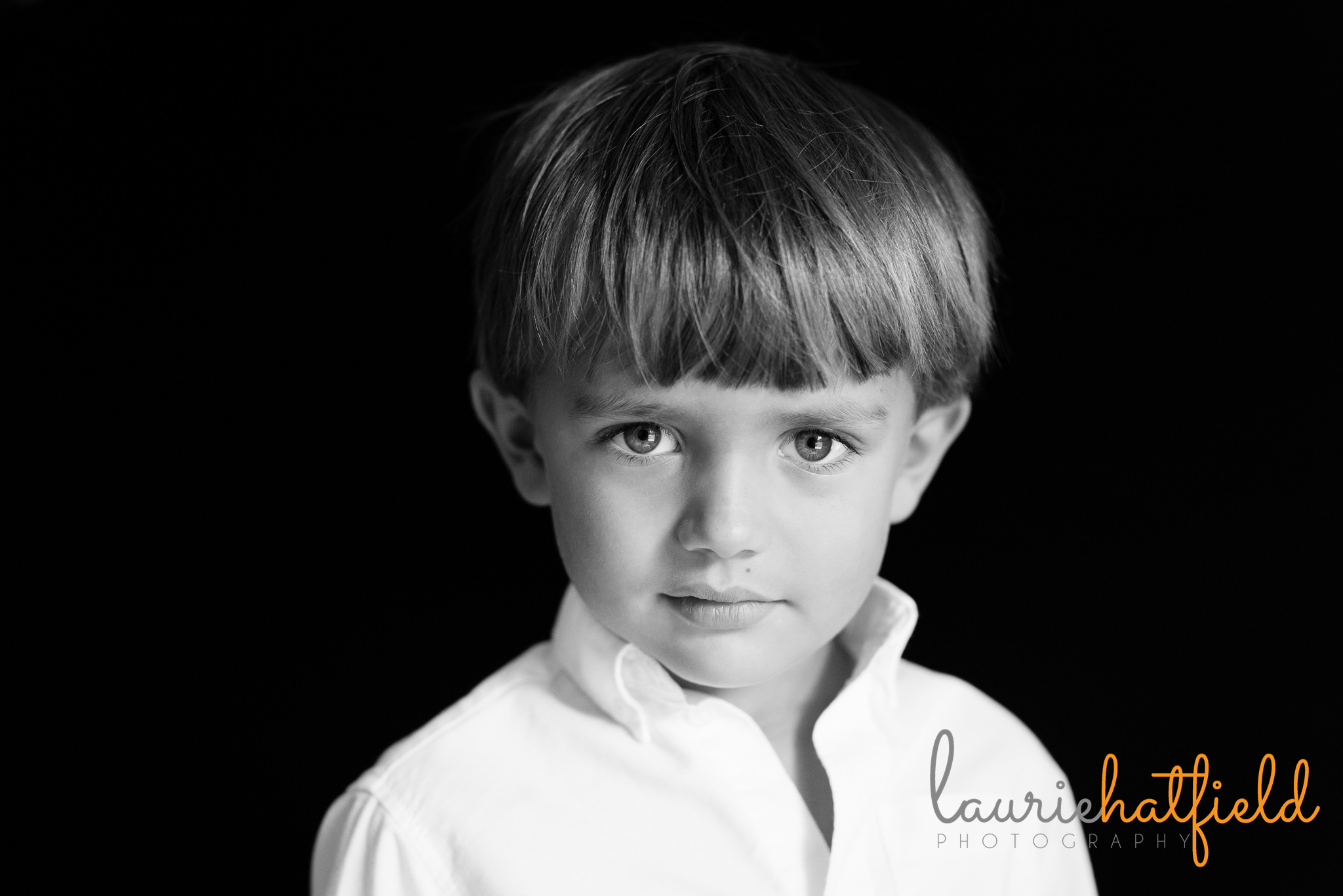 black and white school portrait of 5 year old boy | Mobile AL preschool photographer