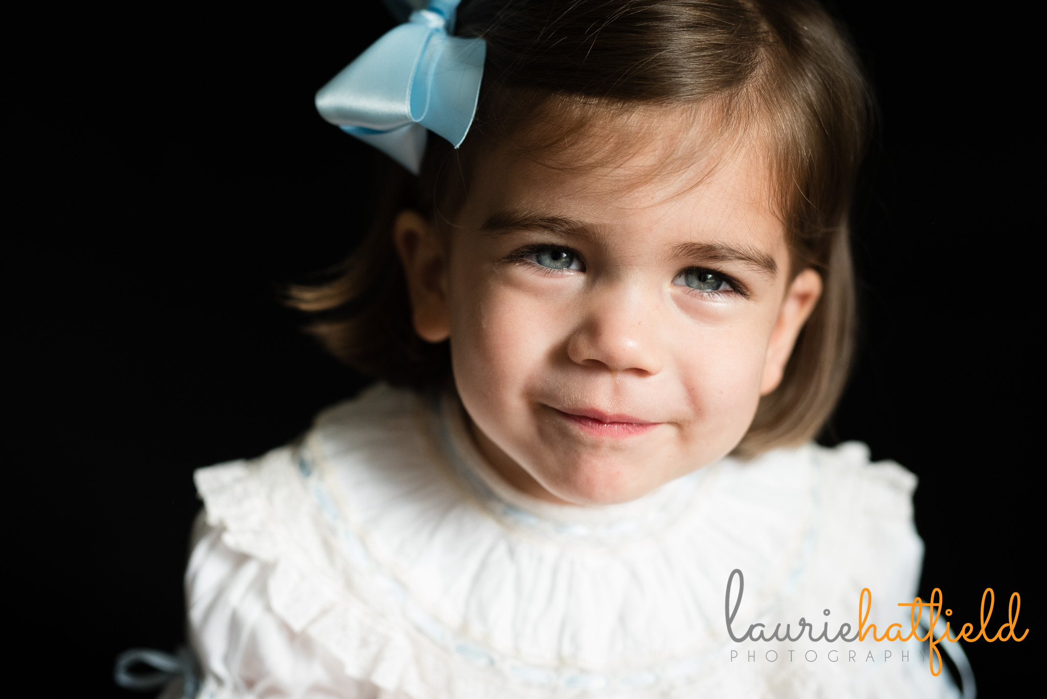 2 year old girl with blue eyes and white dress | Mobile AL preschool photography