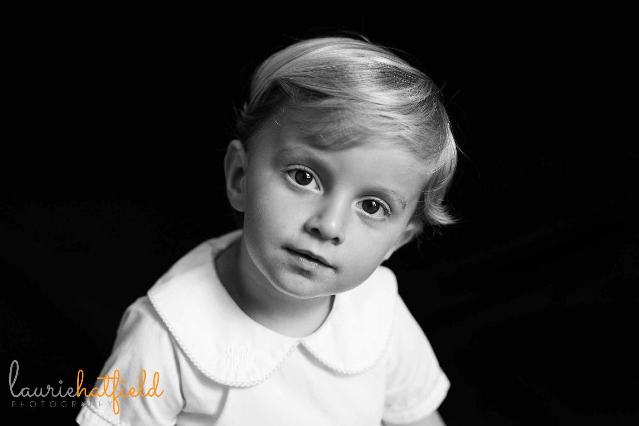 black and white school portrait of 3-year-old boy | Mobile AL preschool photography