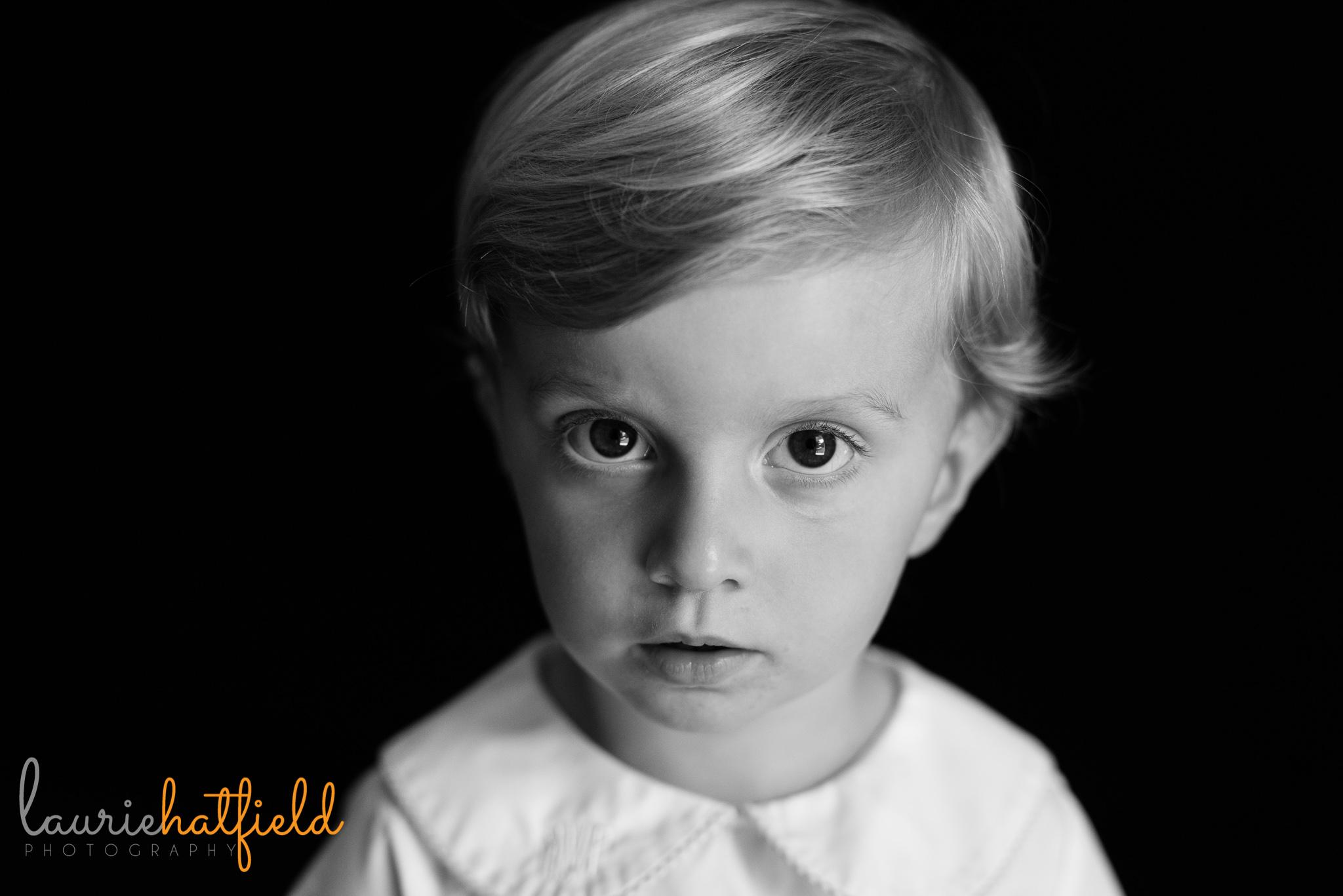 little boy looking at camera | Mobile AL preschool portrait photographer