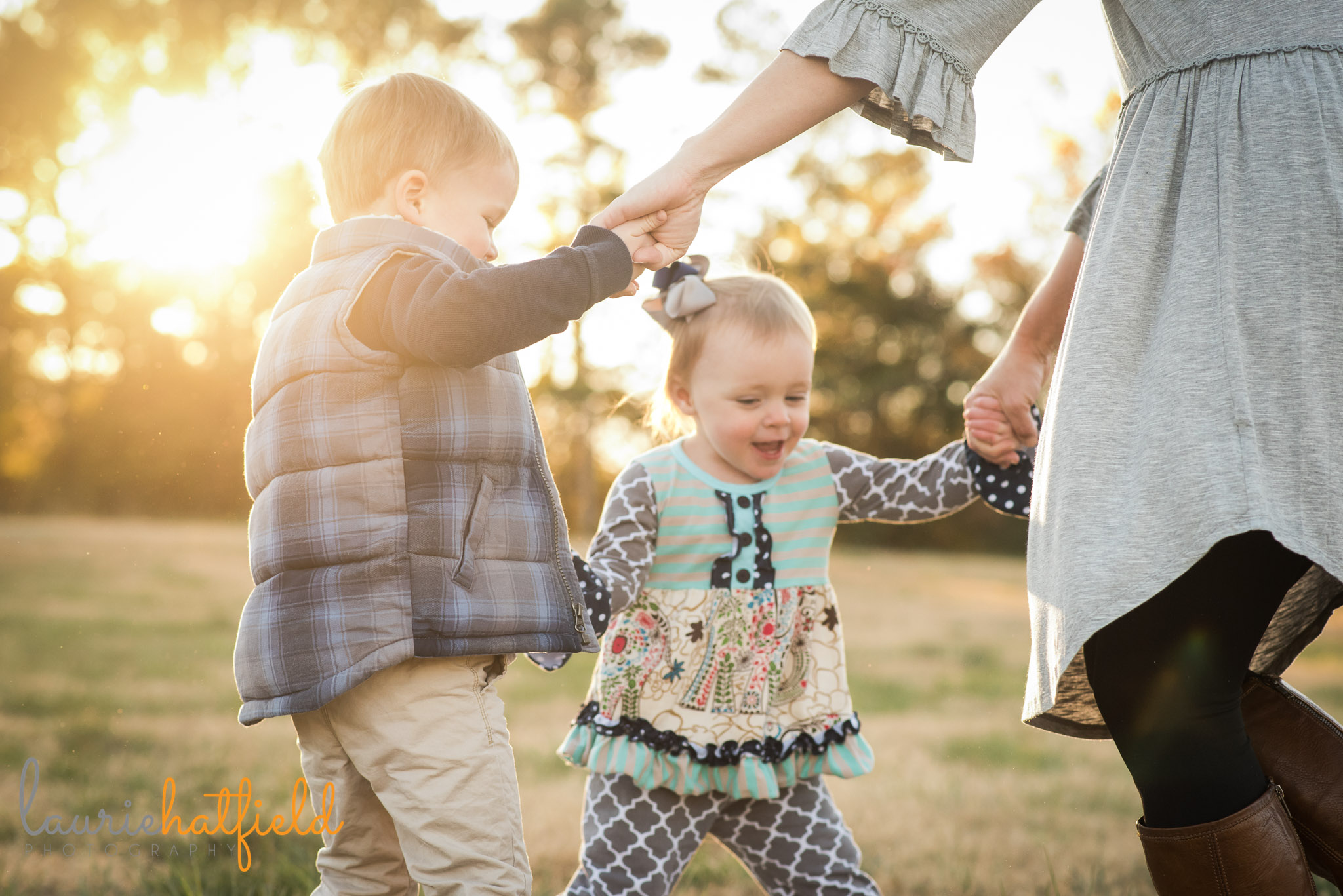 mom dancing with kids in field | Mobile AL family photographer