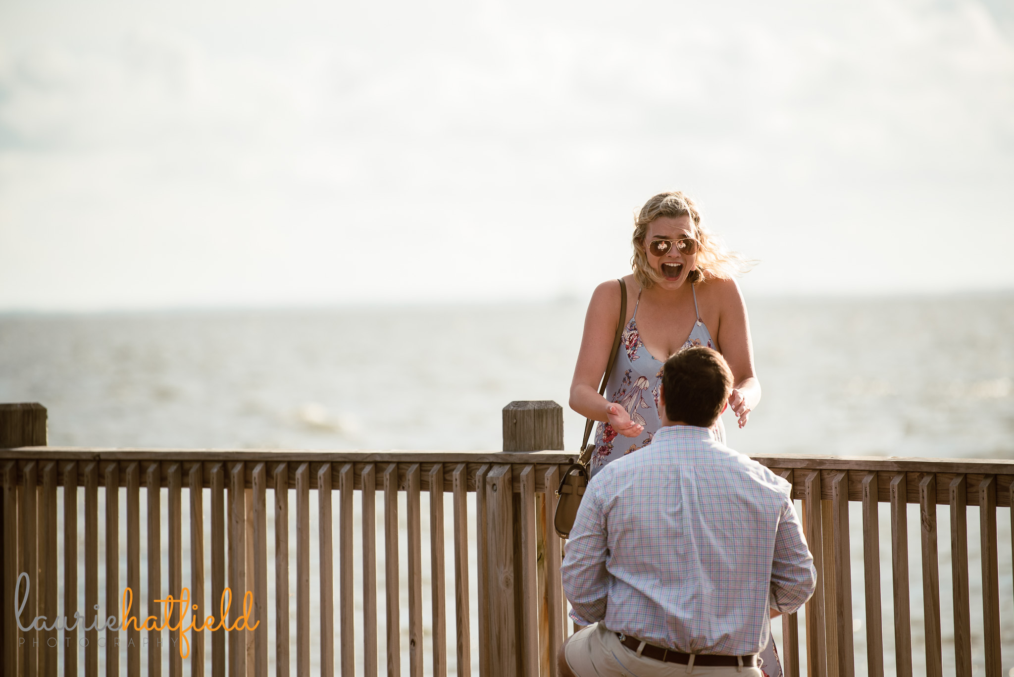 girl surprised at engagement | Mobile AL proposal photographer