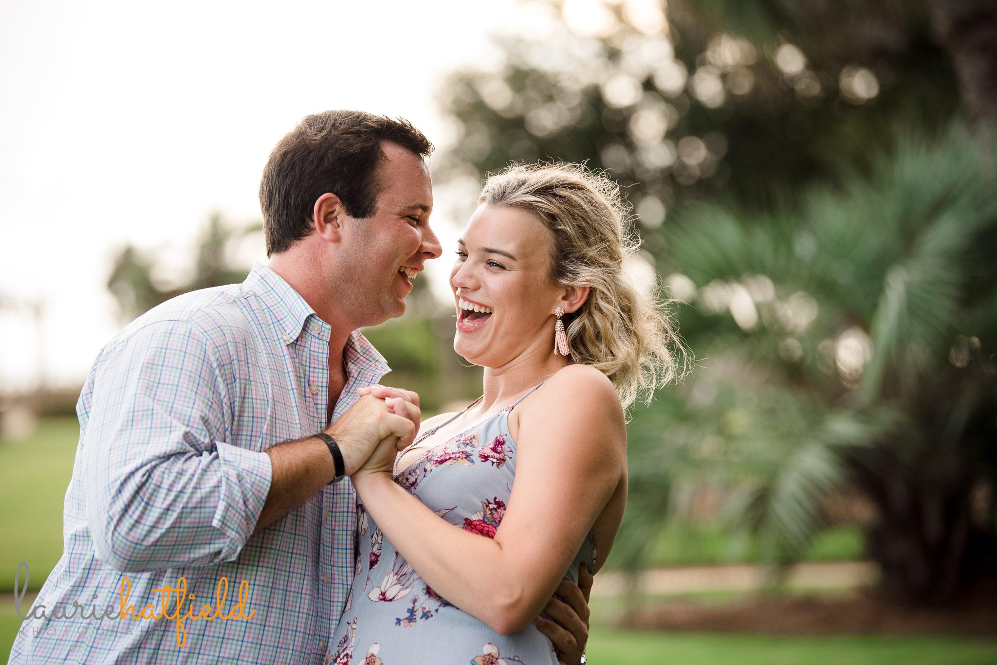 couple dancing after engagement Fairhope Pier | Mobile AL proposal photographer