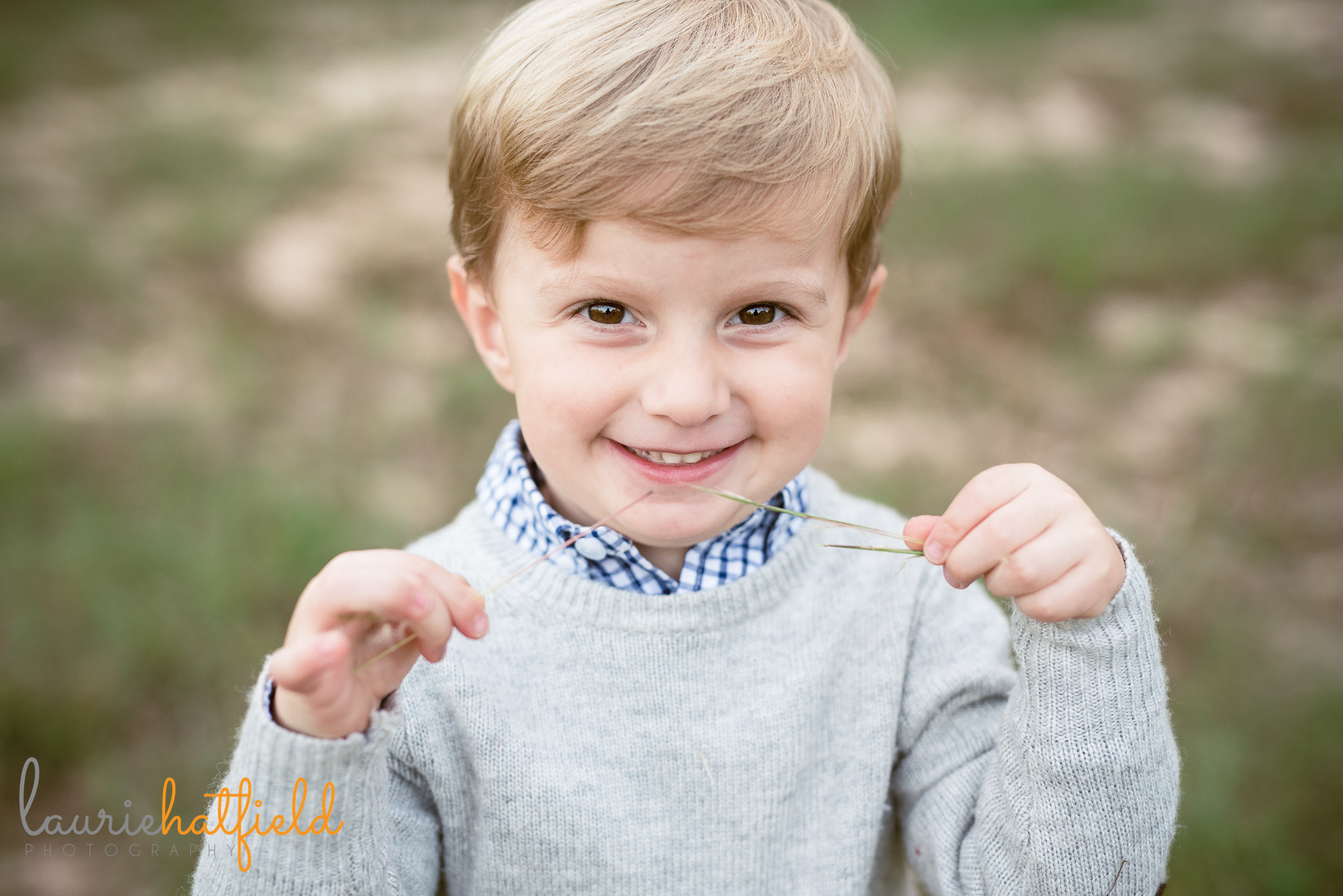 3-year-old boy in gray sweater | Mobile AL family photographer