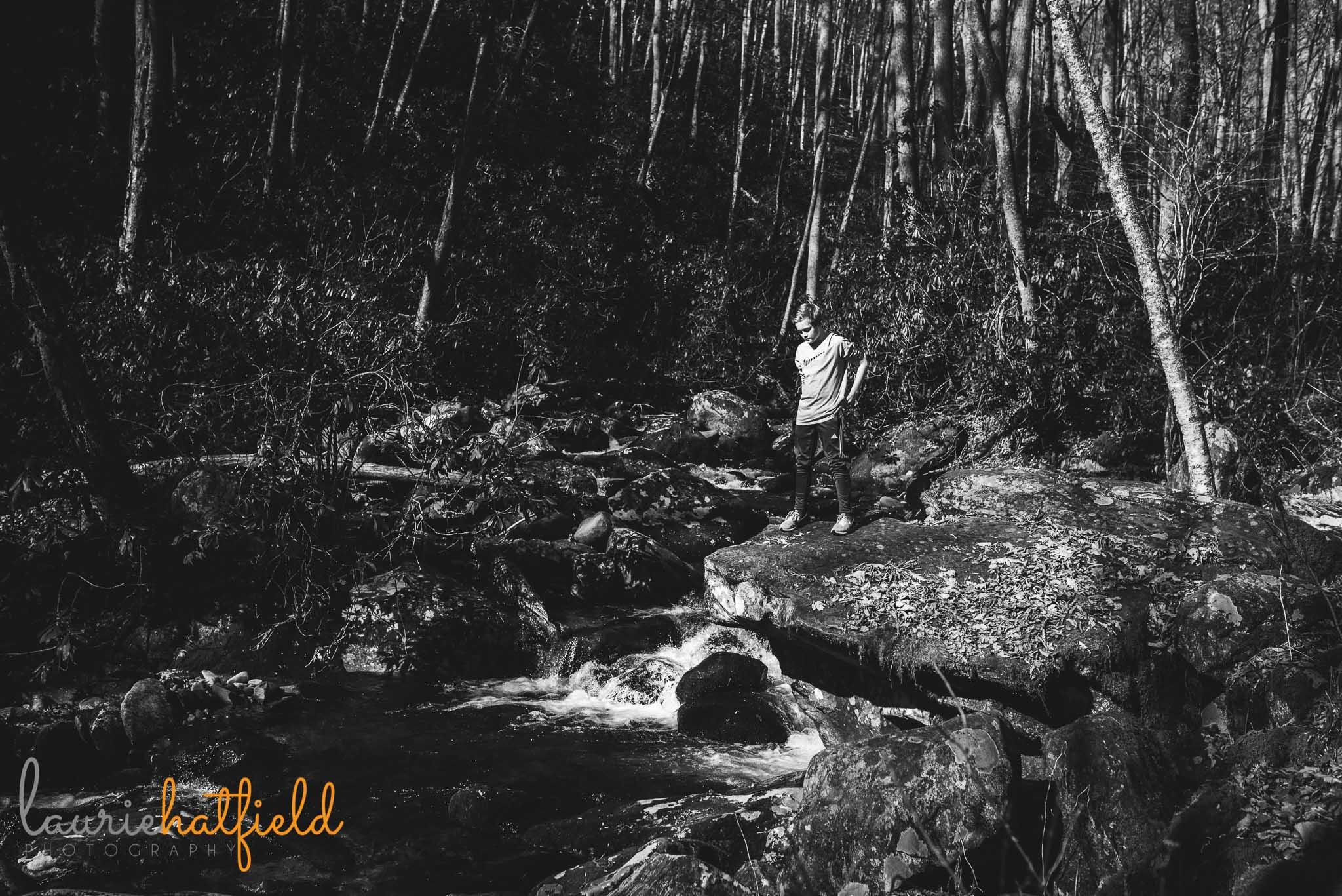 boy standing near creek | Mobile AL family photographer