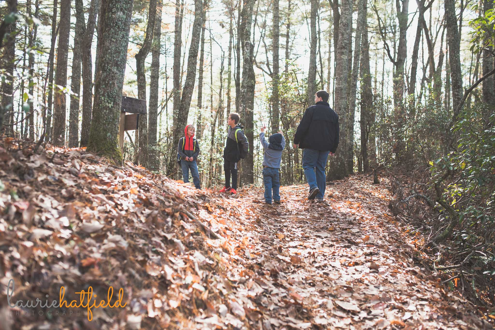 family hiking in woods | fairhope al photographer