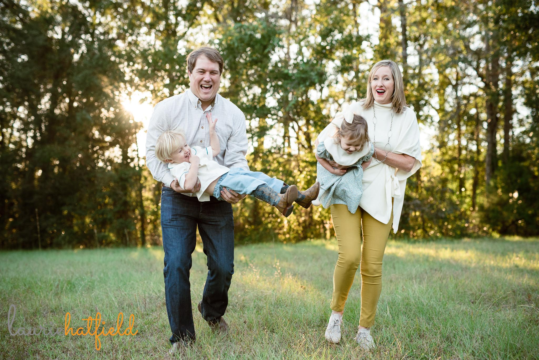 family of four with 3-year-old twins | Fairhope AL lifestyle photographer