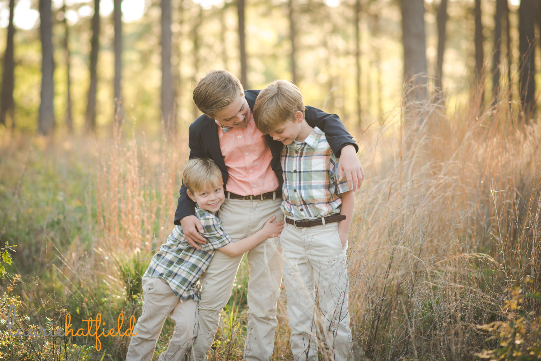 3 brothers together in a field | Mobile AL family photography