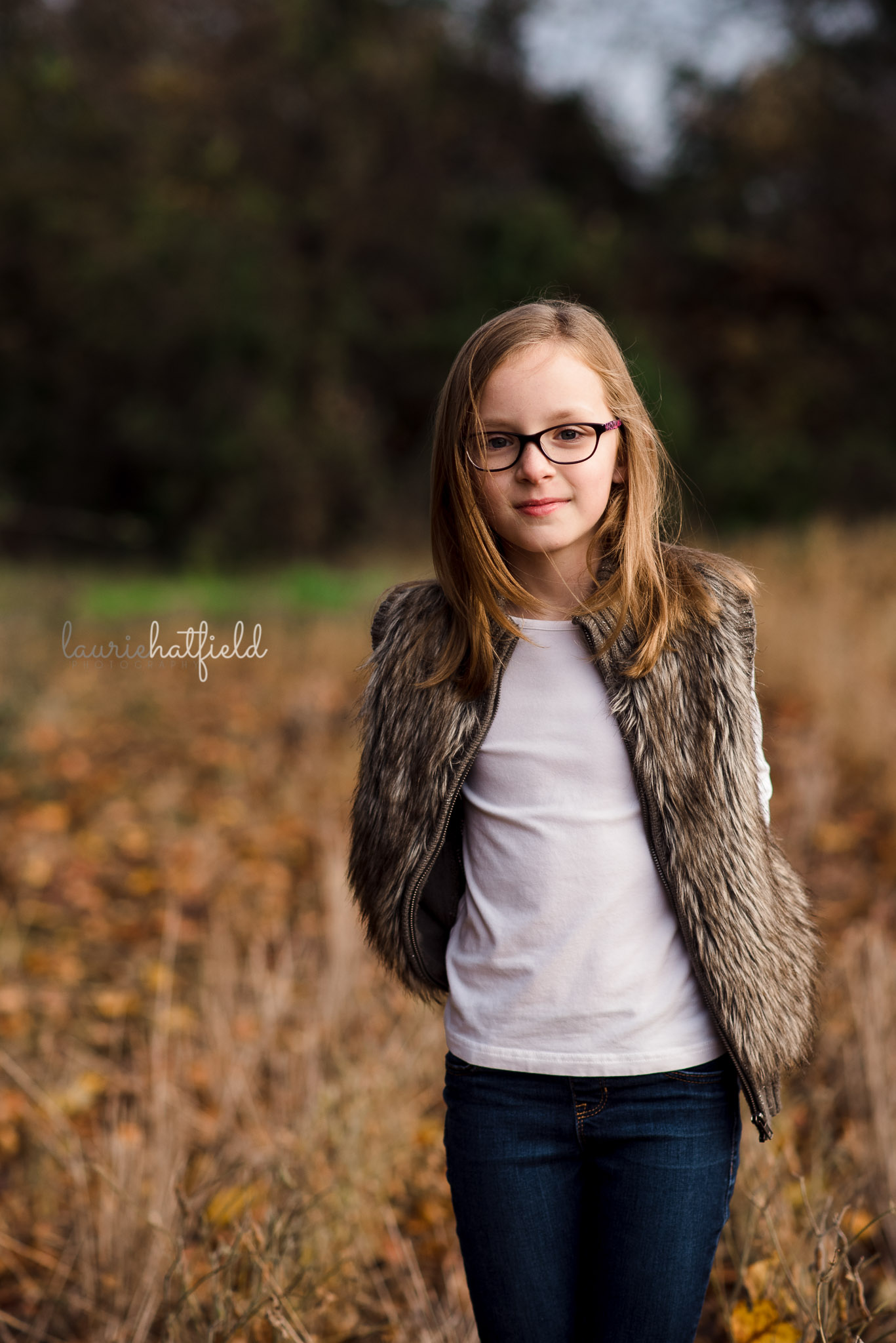 8-year-old girl with brown hair | Mobile AL family photographer