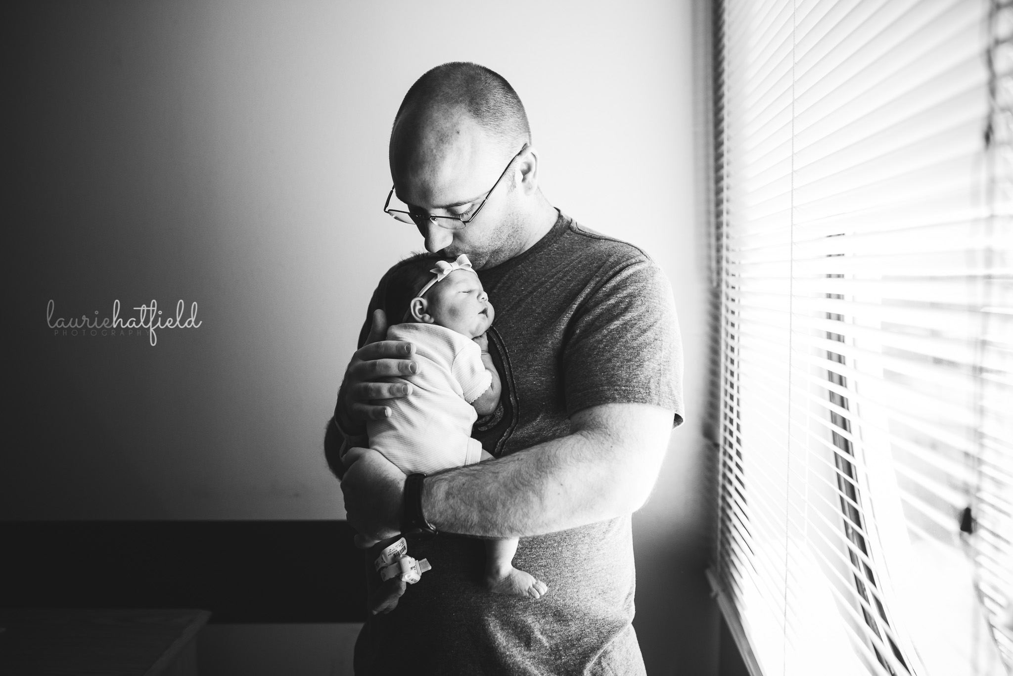 dad with newborn baby girl | Mobile AL Fresh 48 photographer