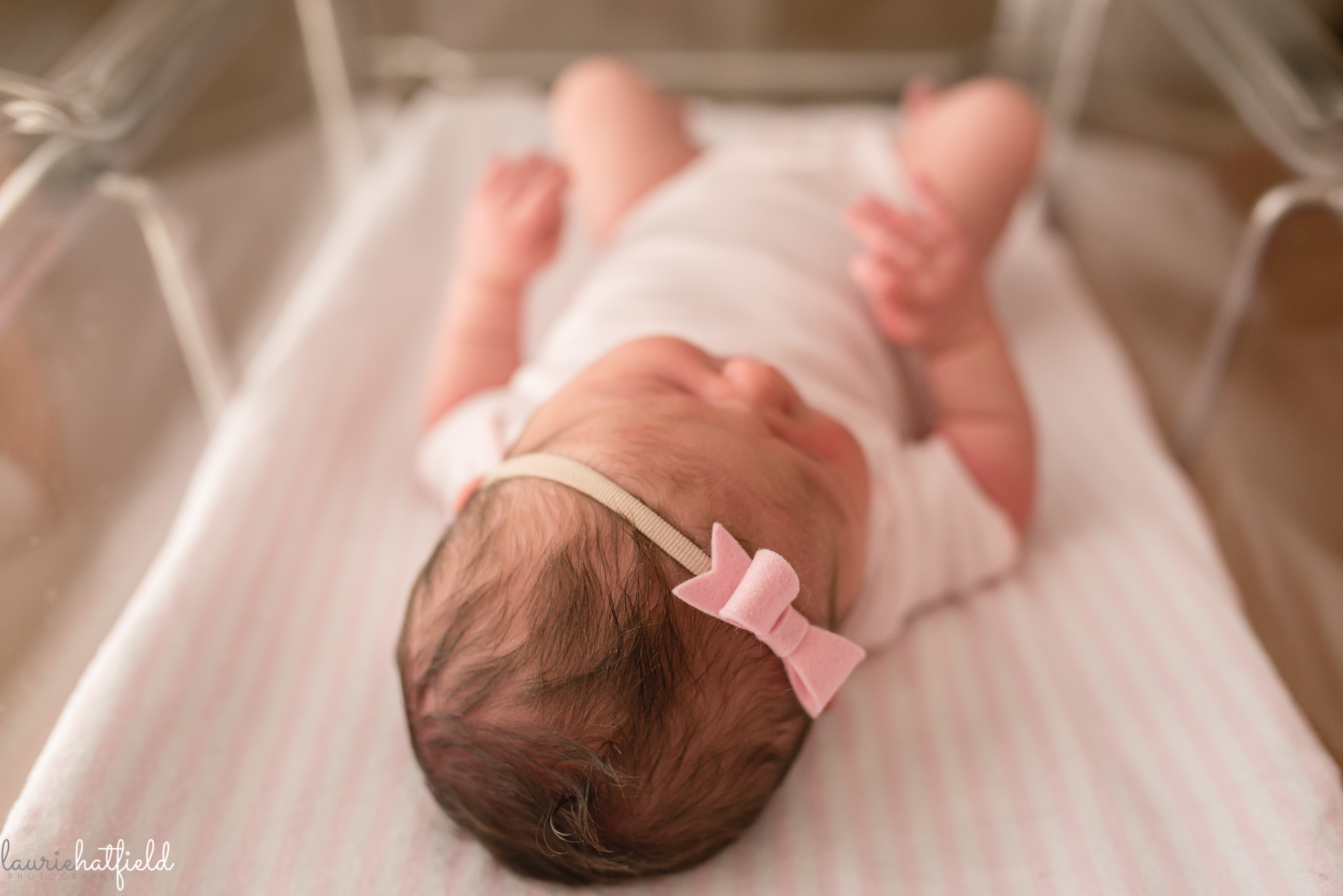 newborn baby girl with hair | Mobile AL Fresh 48 hospital photography session