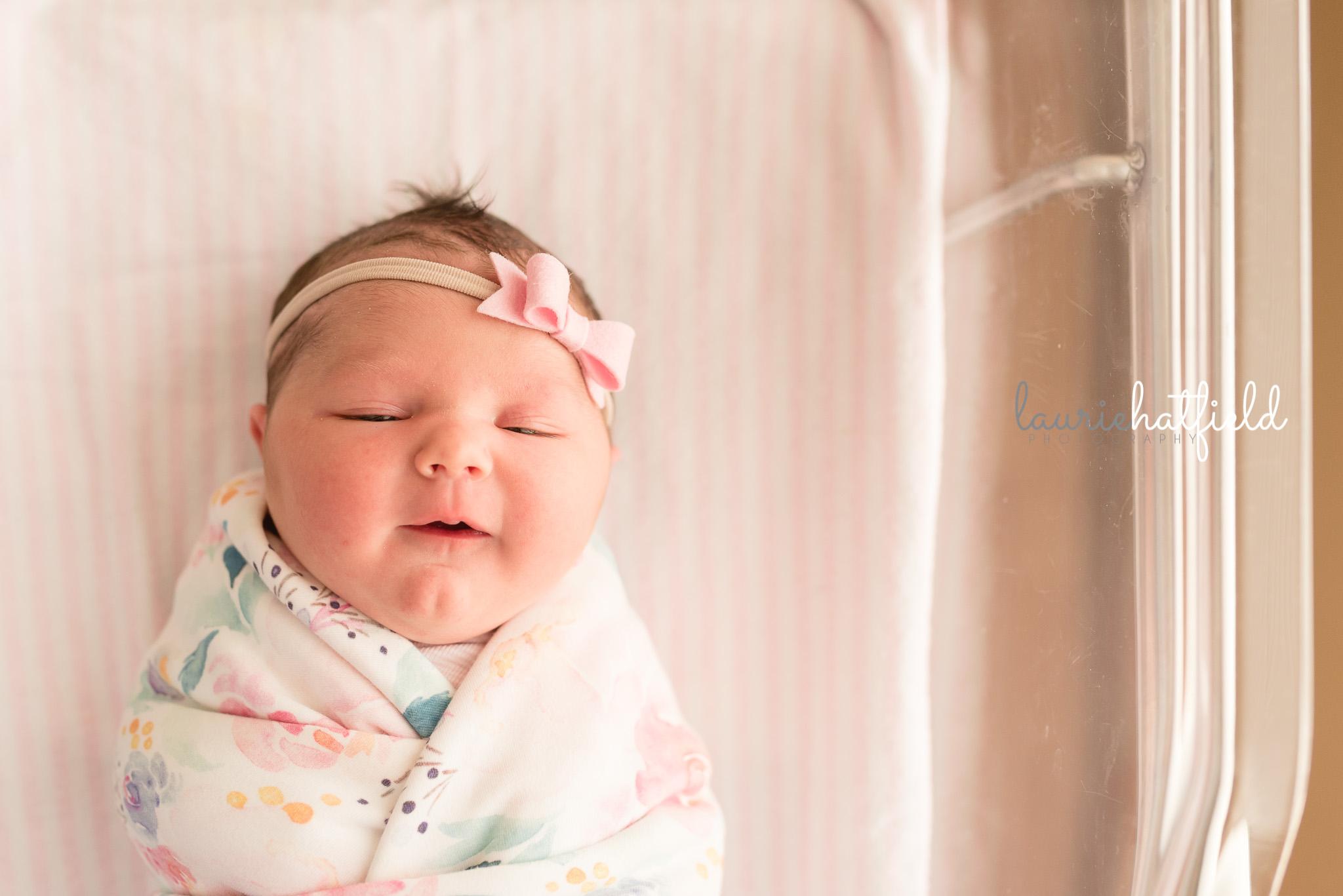 newborn baby girl in hospital | Mobile AL Fresh 48 photographer