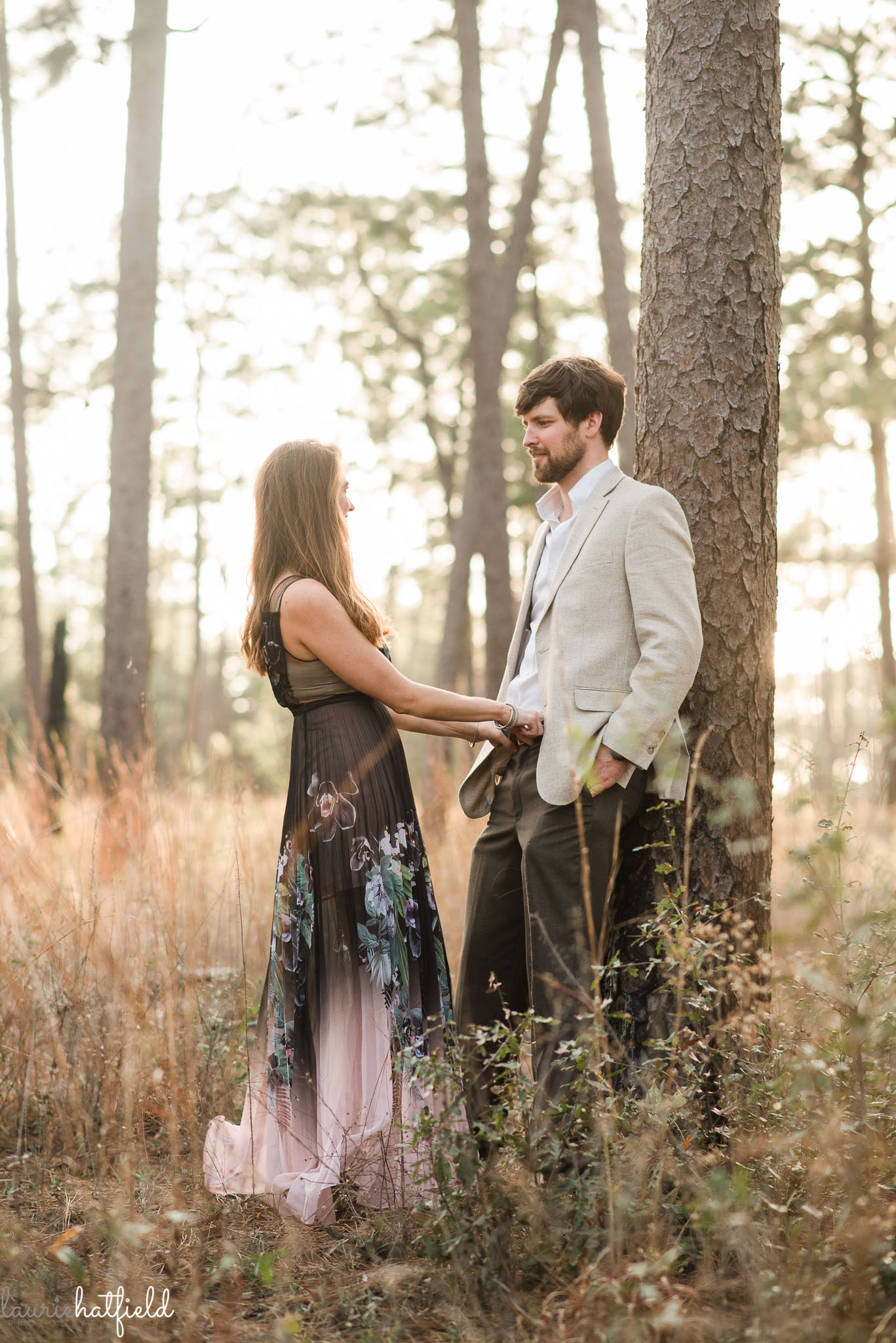 pregnant couple in woods | Mobile AL newborn photographer
