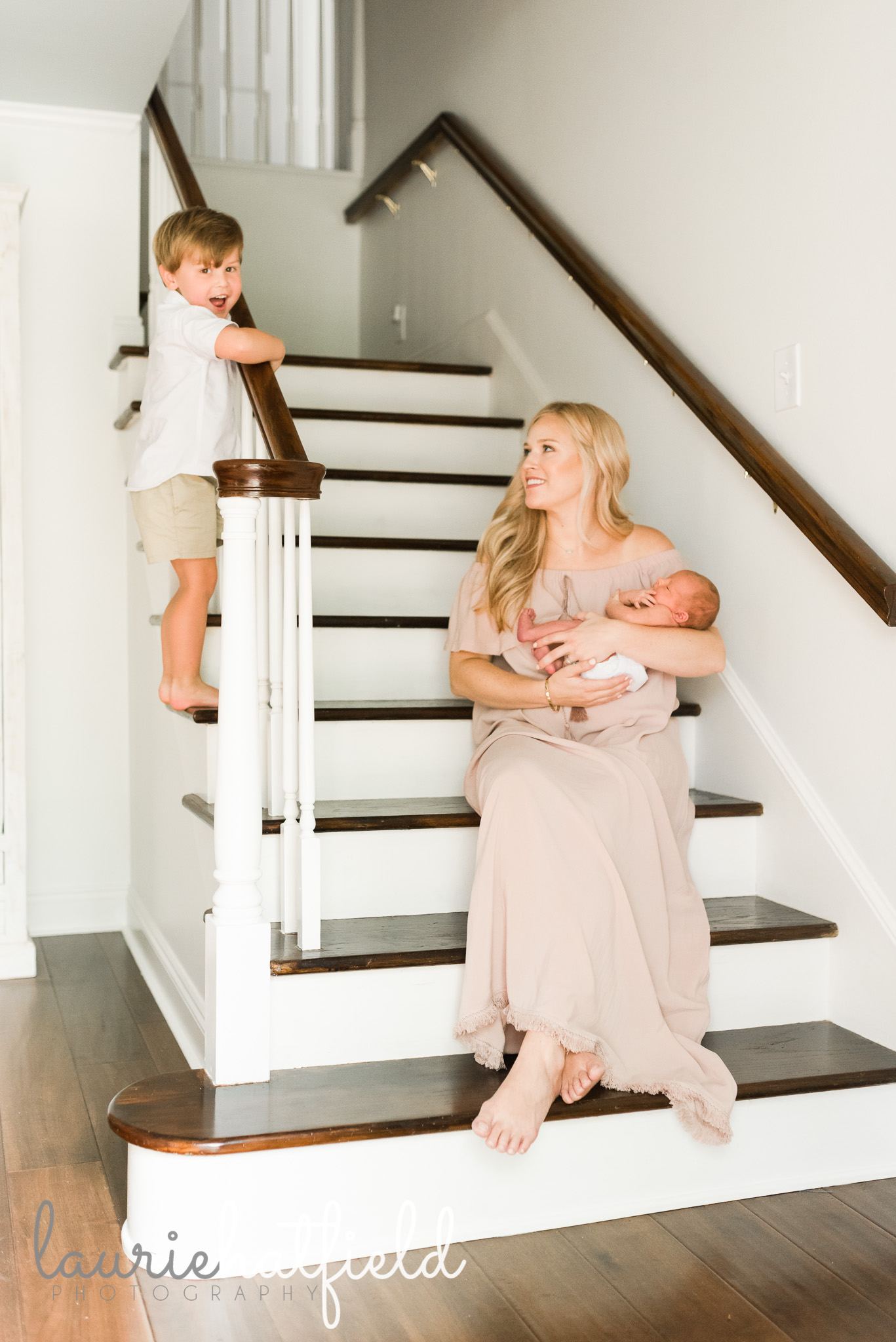 mom and kids on stairs | Mobile AL newborn photographer