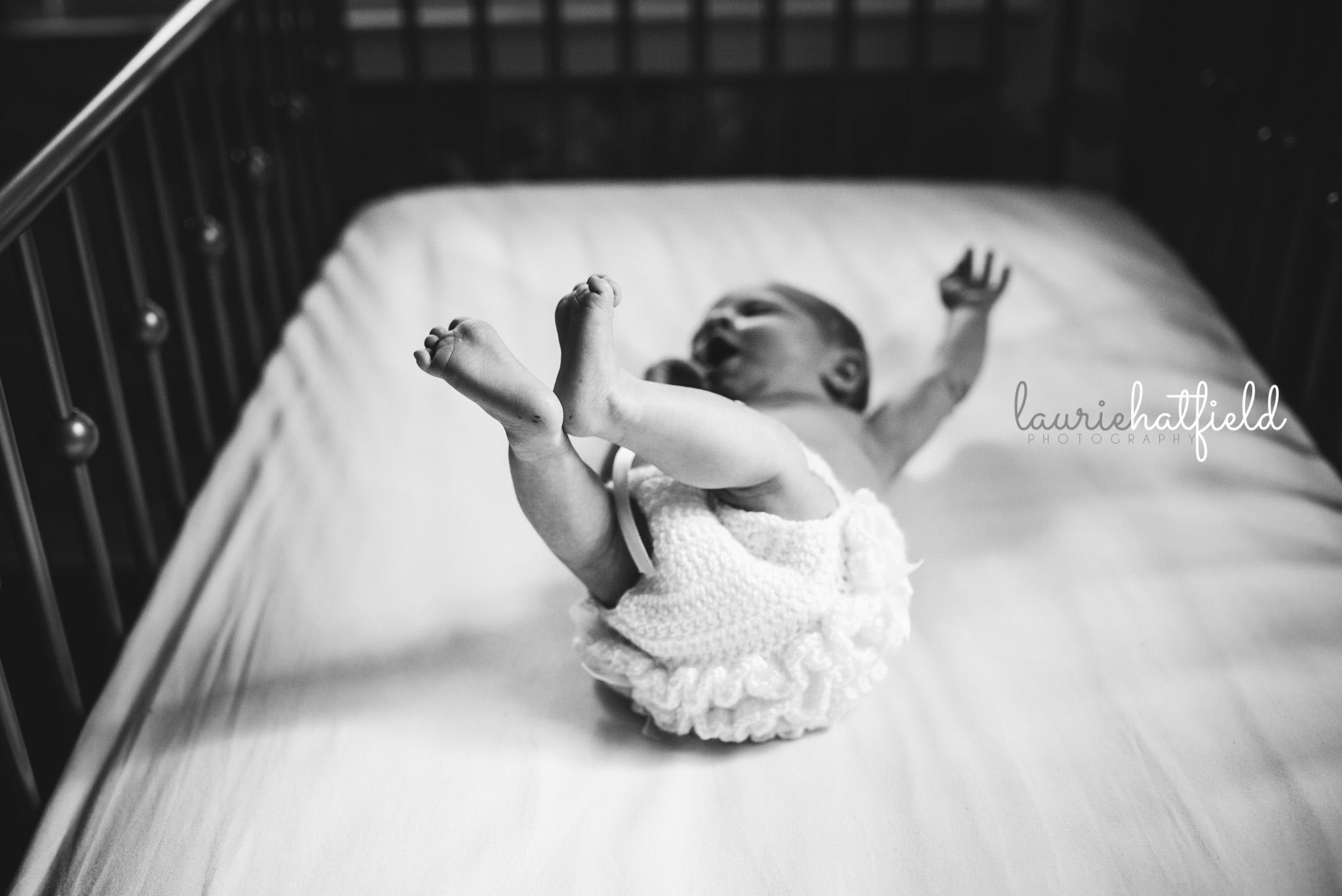baby girl in ruffles | Mobile AL newborn photographer