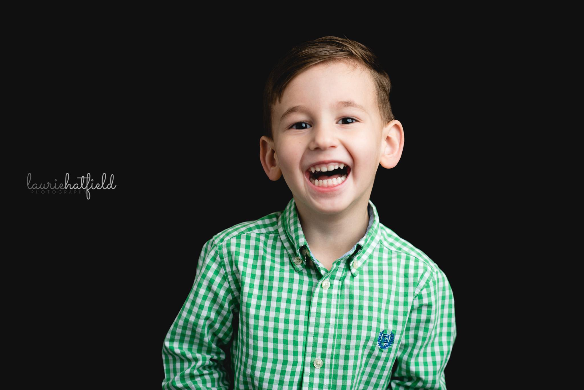 little boy in green shirt | North Alabama school photographer