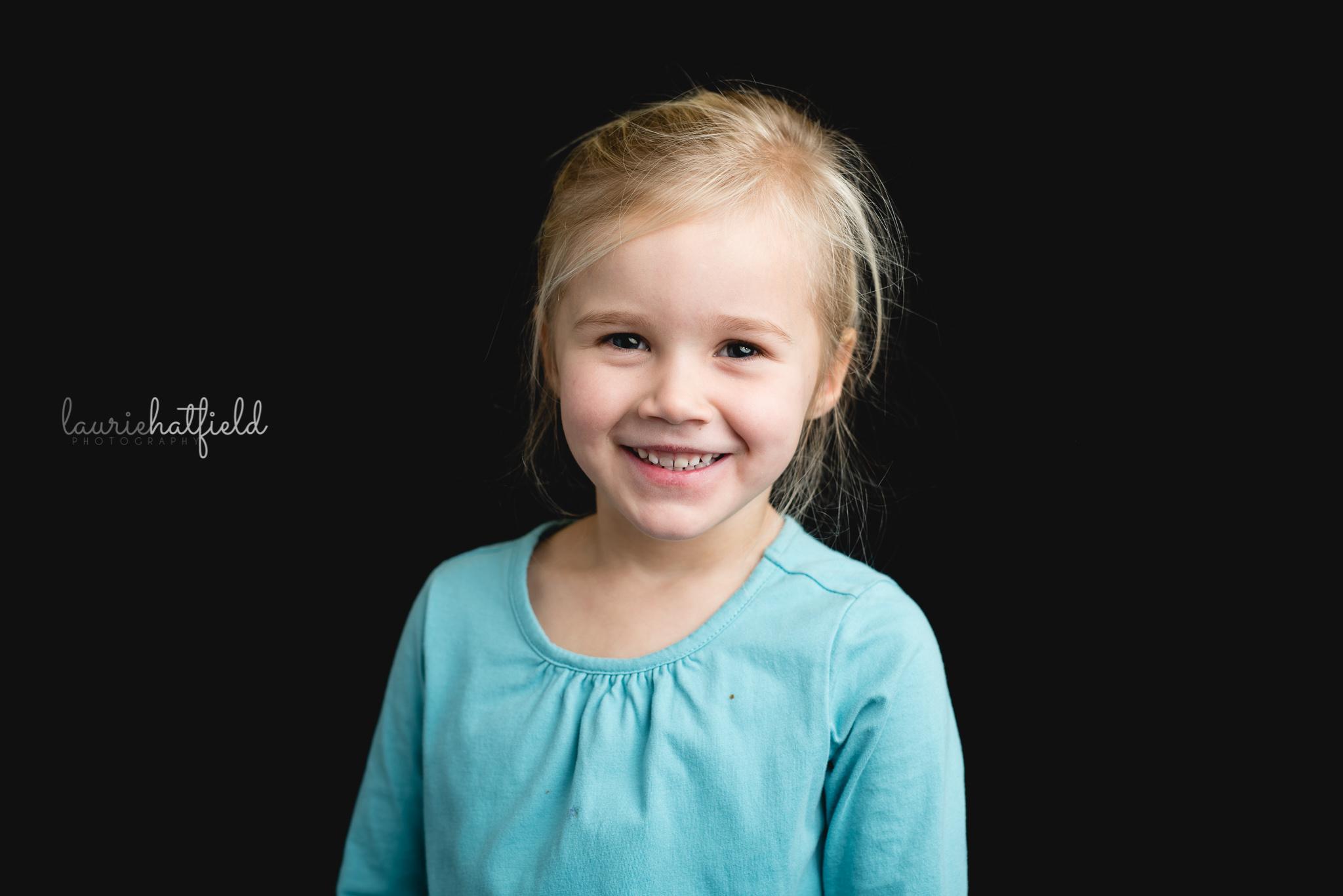 blonde girl in teal shirt | Huntsville AL school portraits