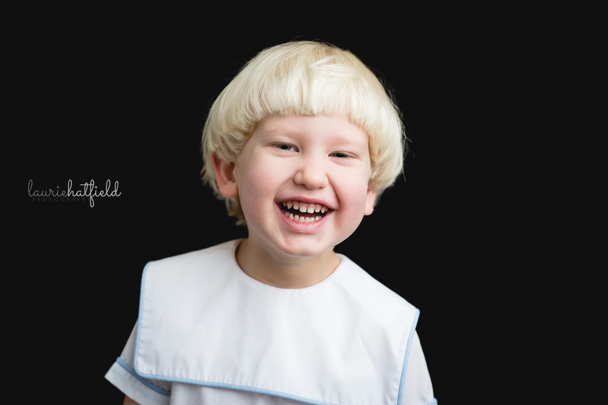 little blond boy in white jon jon | Huntsville AL school photography