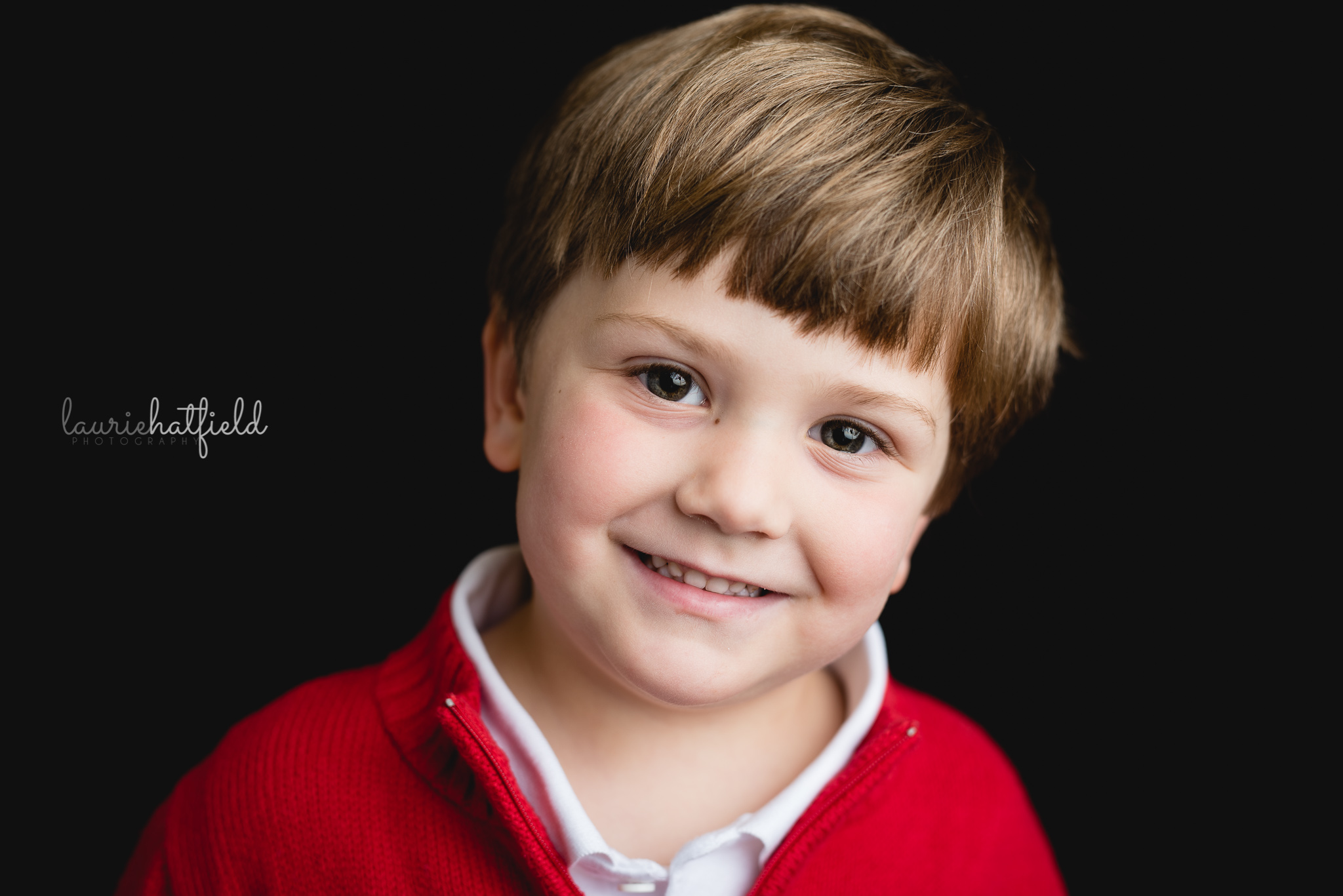 little boy in red sweater | Athens AL school photographer