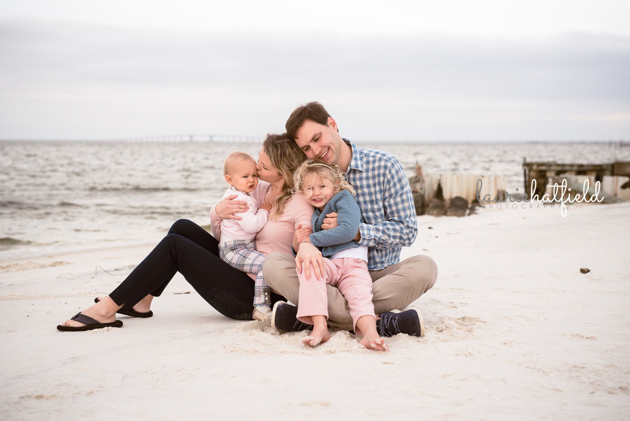 family of four on the beach | Huntsville AL child photographer