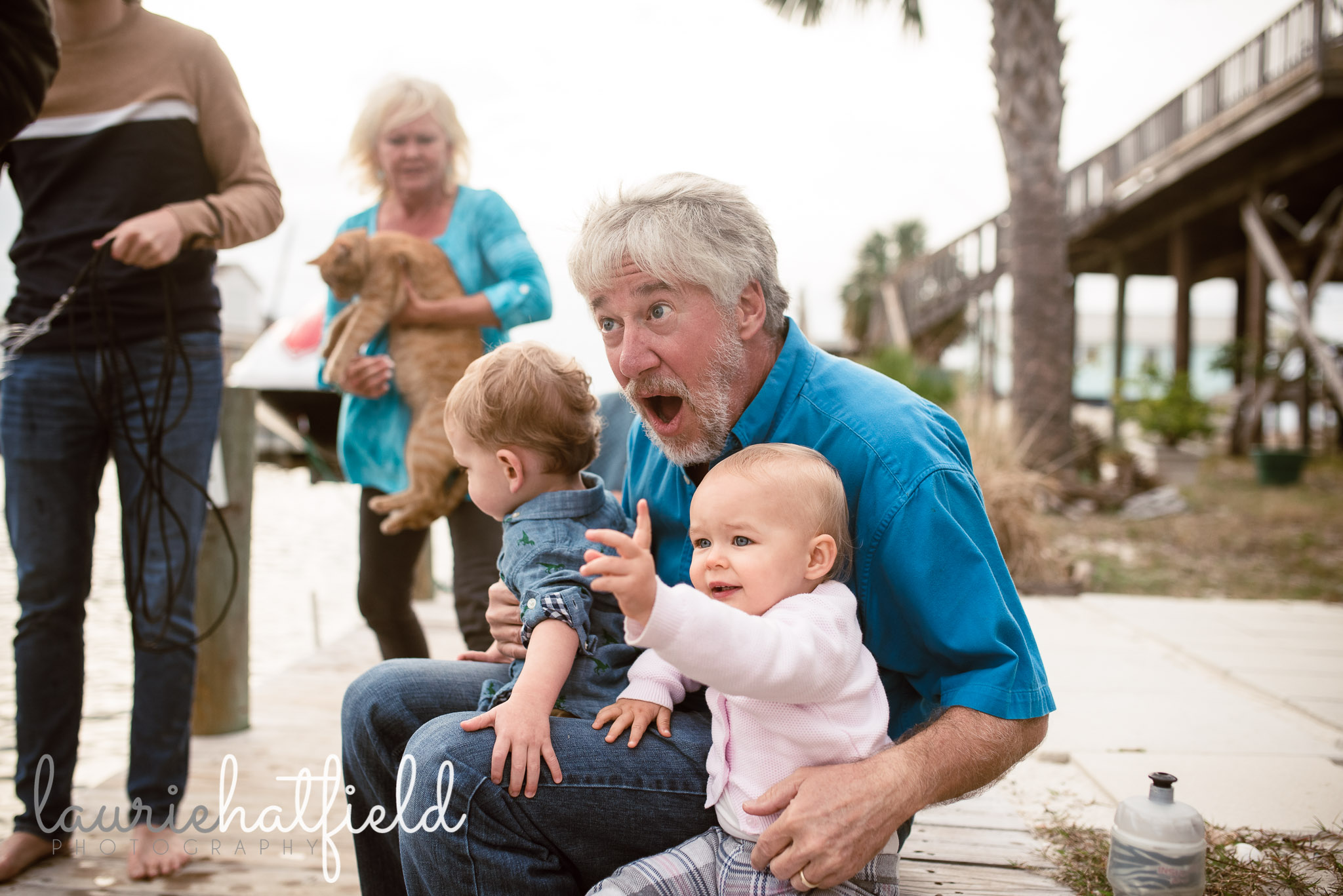 grandfather with two small grandchildren | Decatur AL family photographer