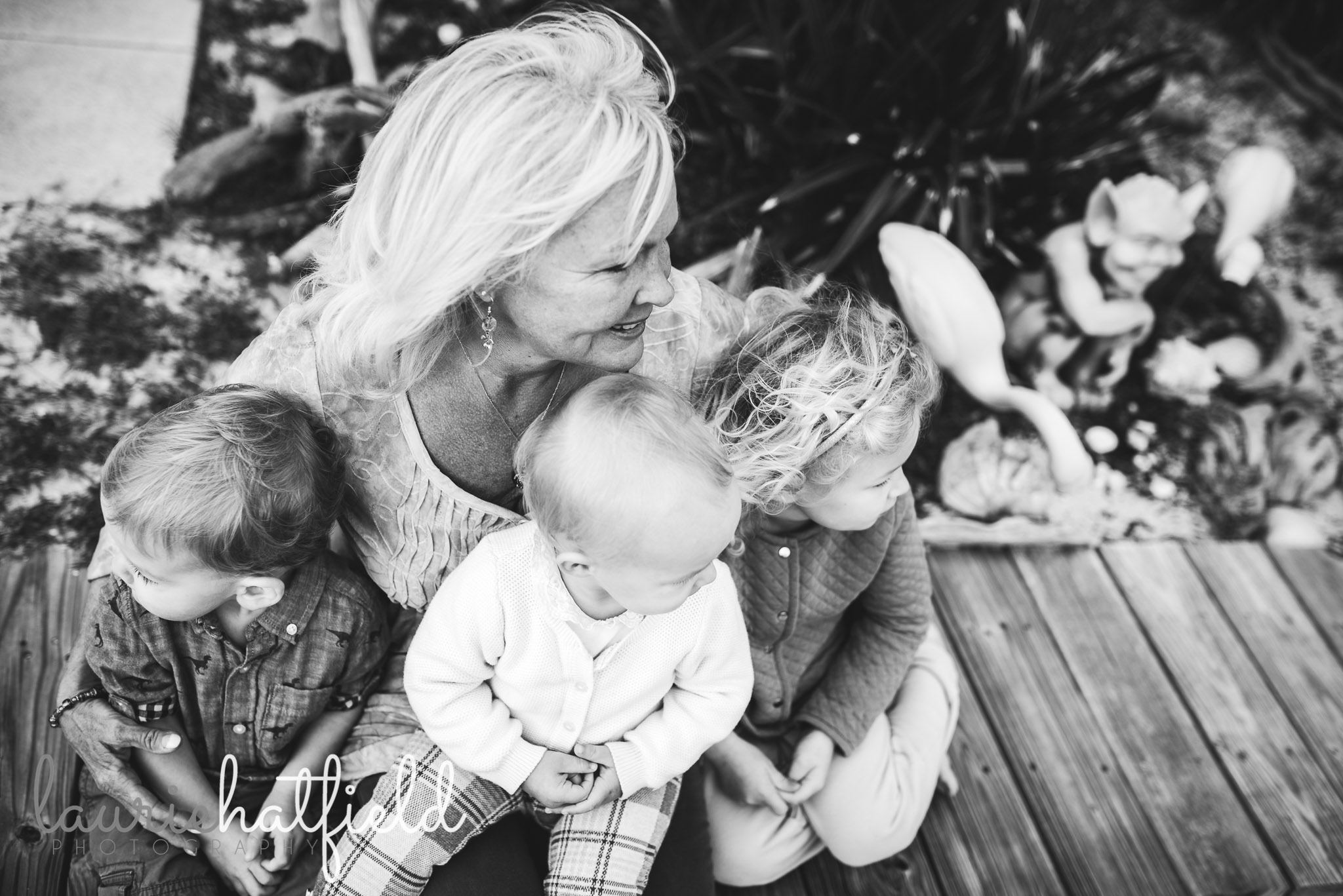 grandmother with three grandchildren | Huntsville AL family photos
