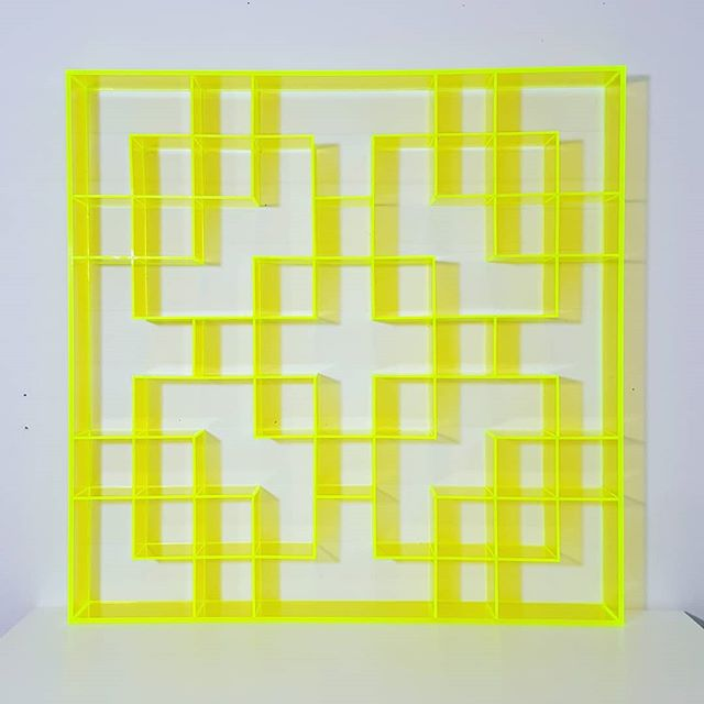"New piece in a new series of wall sculptures. It was pretty fun 'welding' the pieces together. Next up: plywood... . 'Changho, acrylic'  24"" x 24"" x 2.5"" Fluorescent green acrylic . . #changho #plexiglass #koreanamericanart #koreanamericanartist"