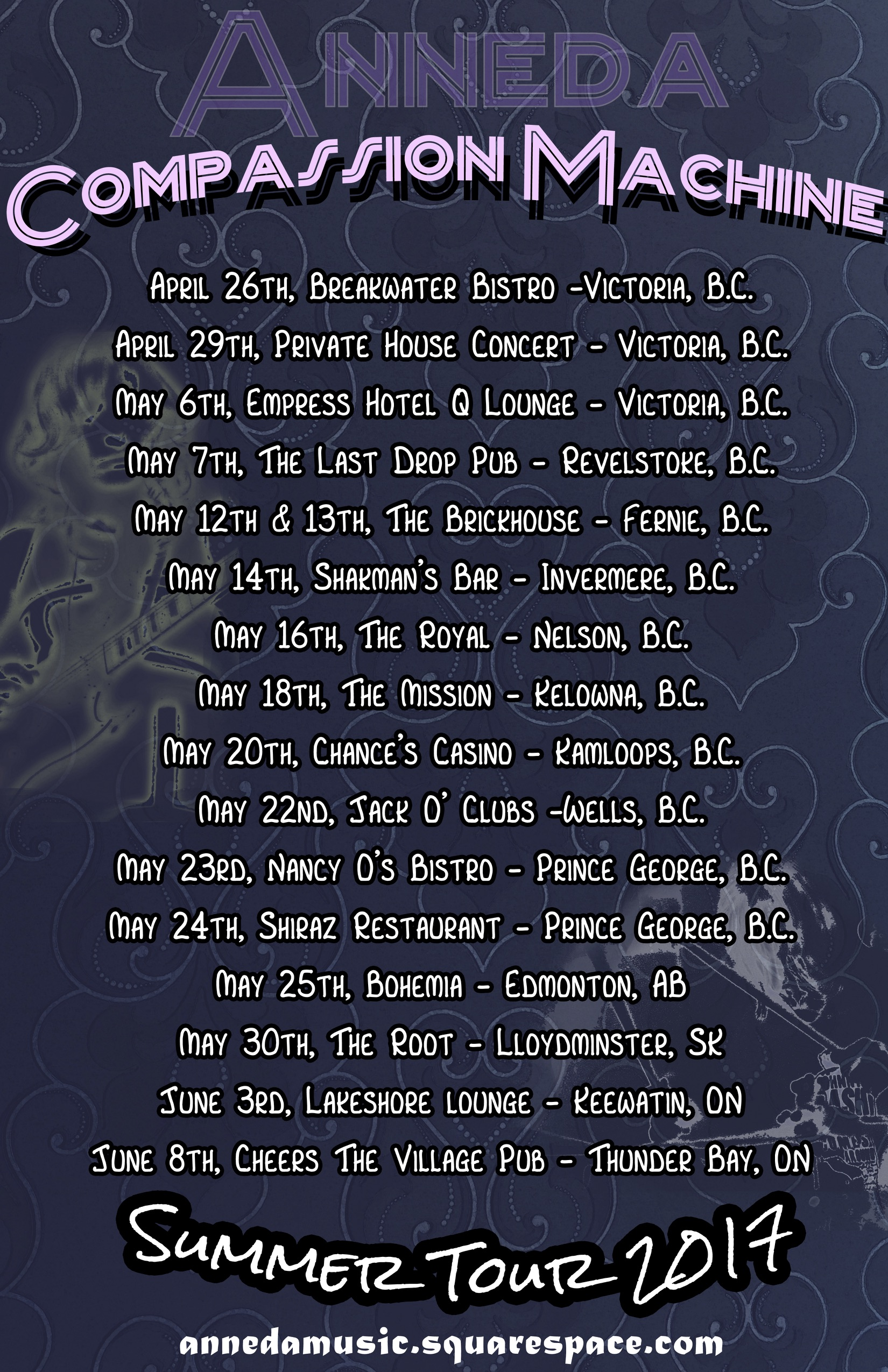 ROCK DUO ANNOUCES COAST TO COAST CANADIAN TOUR -  FOR IMMEDIATE RELEASE: 4/13/17Compassion Machine follows up their 2016 Summer tour supporting full-length albumVictoria, BC: Celestial, psychadelic, and super-charged rock and roll duo Compassion Machine are ready for the road again. After a successful series of shows last August that took them from Vancouver Island to Saskatchewan, this Summer 2017 the band is adding Eastern Canada to the circuit including gigs in Ontario, Quebec, and the Maritime Provinces. The tour begins in May through to the end of June with dates being added daily.Compassion Machine is the new name of a quickly evolving project consisting of lead vocalist/guitarist Charlene Birkbeck and drummer Lucas McKinnon. Previously known as Anneda, this group has returned from a season in Australia writing and performing new material that is surging with contagious energy and exuberance. Having released their first full-length album, Depths Unknown, last summer, they are already set to record their next release this upcoming fall.For tour dates, visit our website www.annedamusic.com, Facebook page, Instagram, or email us at annedamusic@gmail.com.