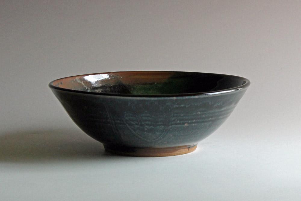 stoneware bowl with tenmoku glaze