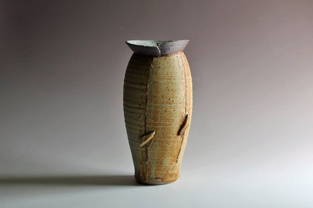Thrown & altered vase with ash glaze